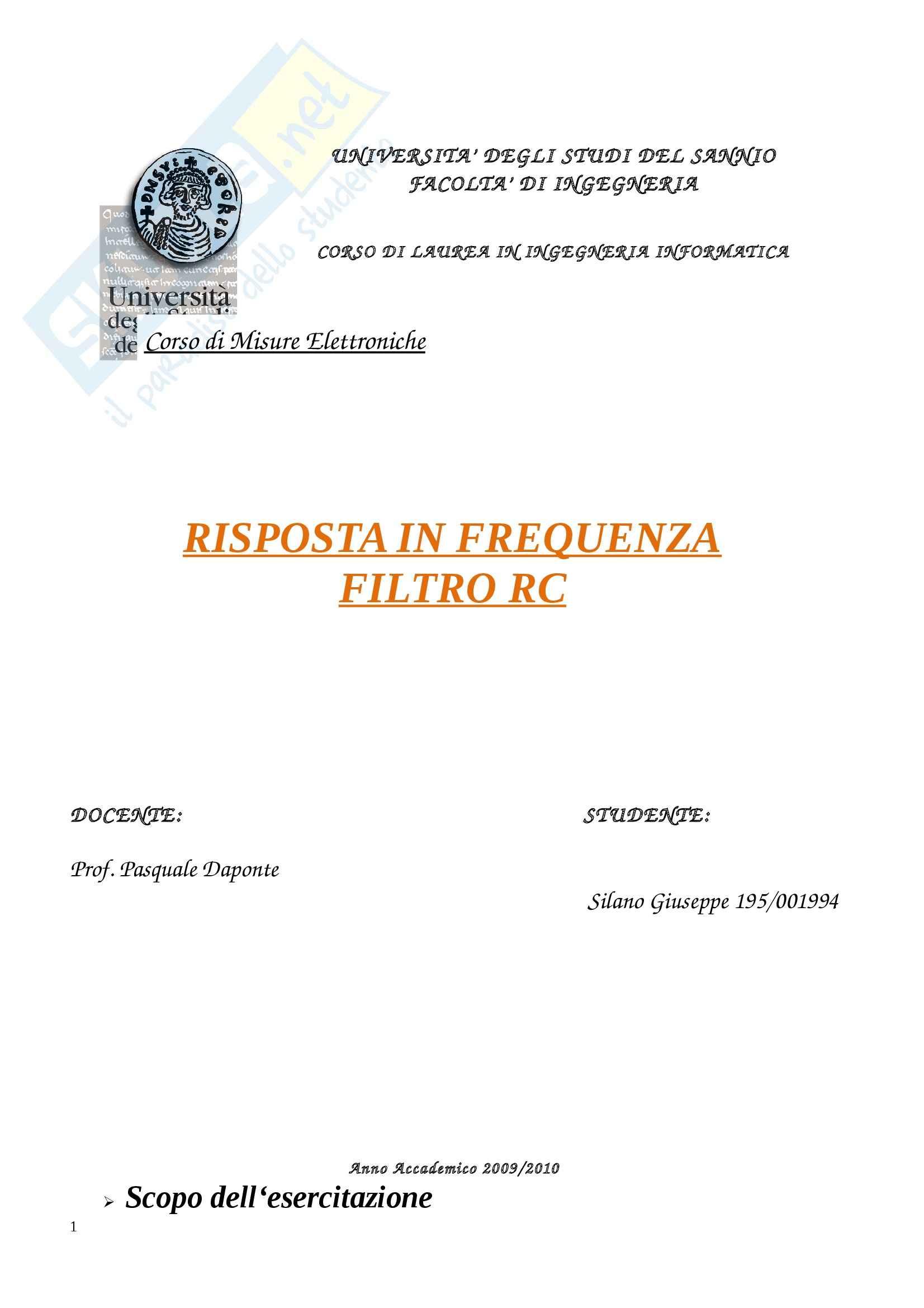 Filtro RC, Misure elettroniche