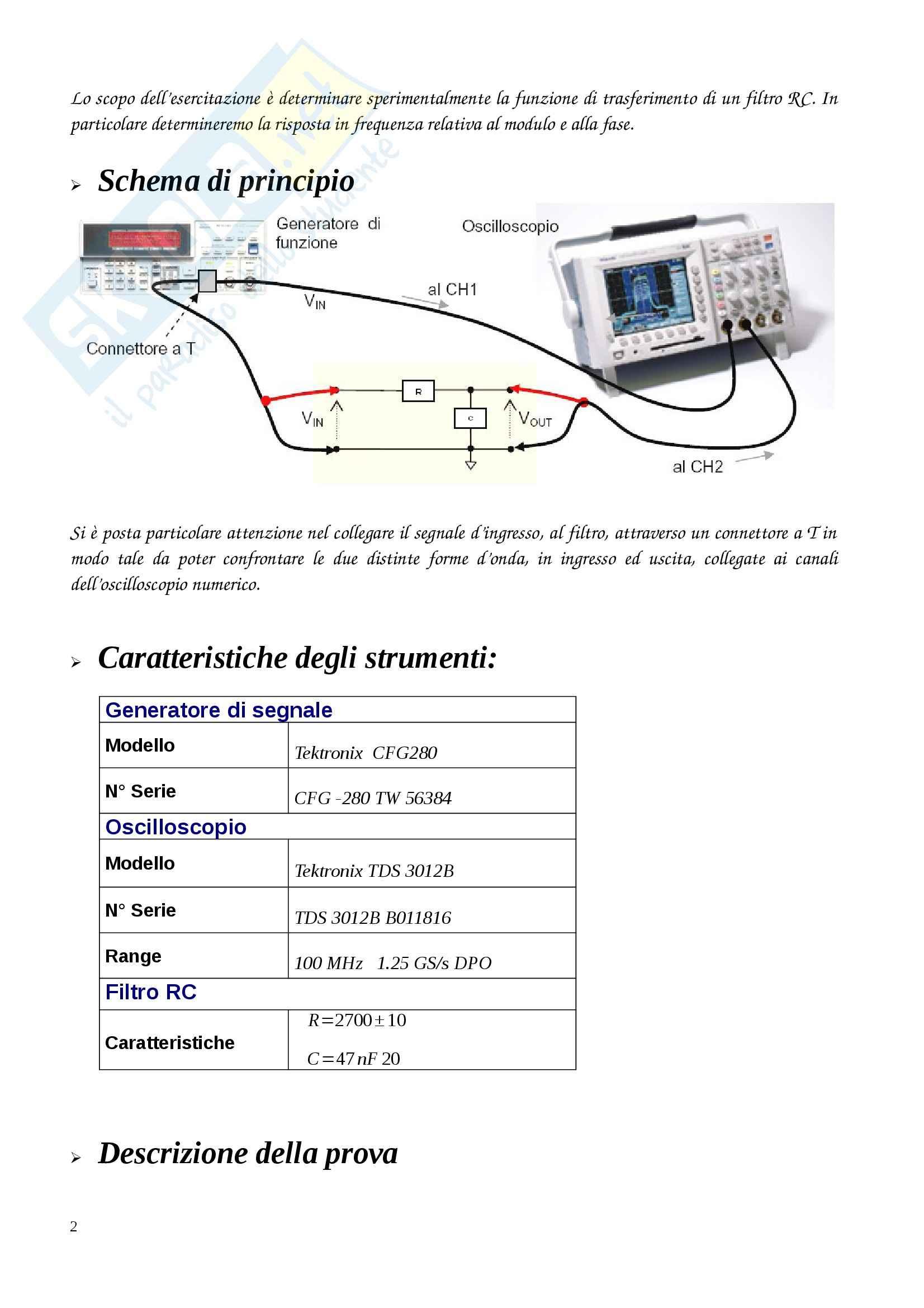 Filtro RC, Misure elettroniche Pag. 2