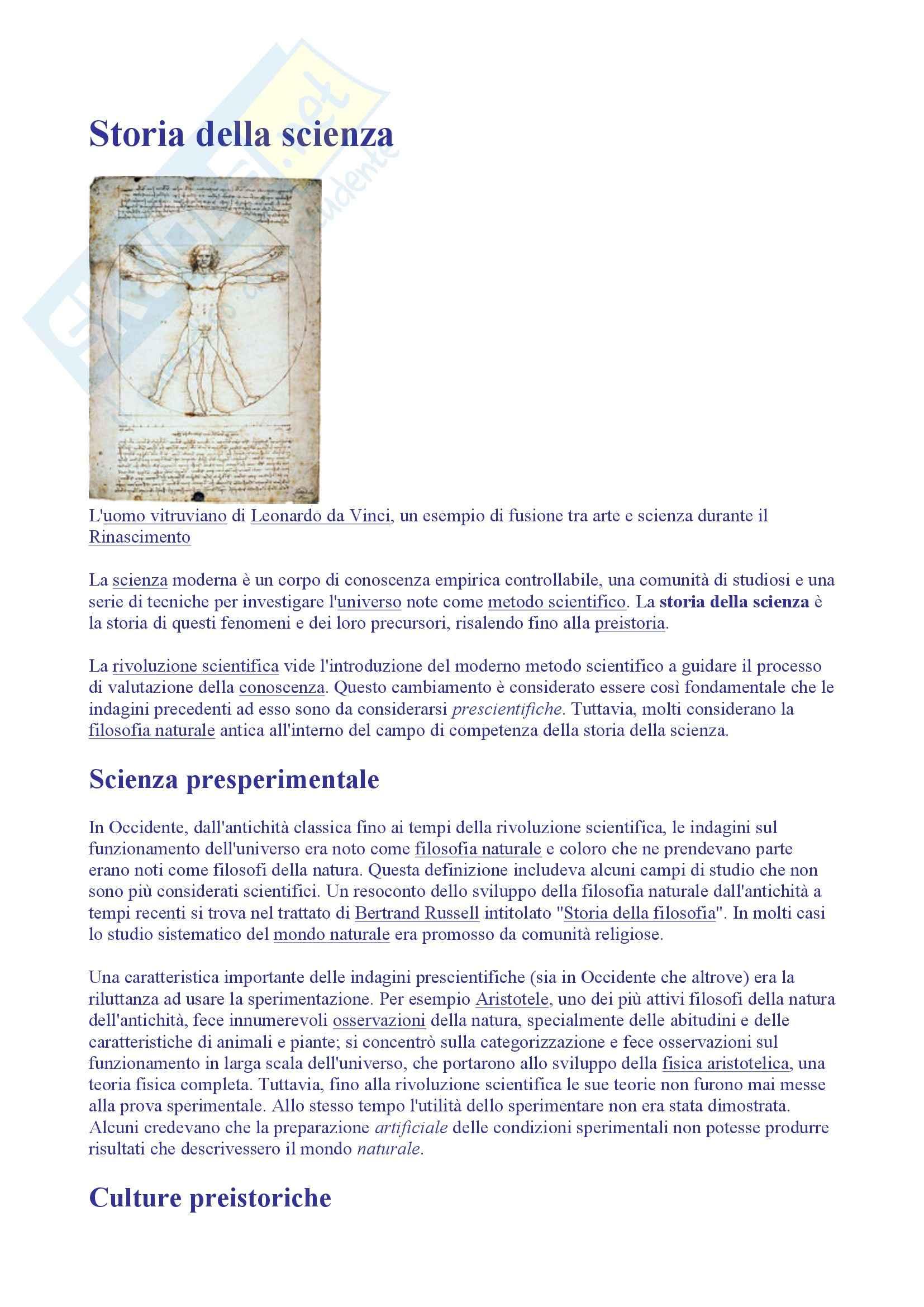 Storia della Scienza e delle Tecniche - Storia della Scienza
