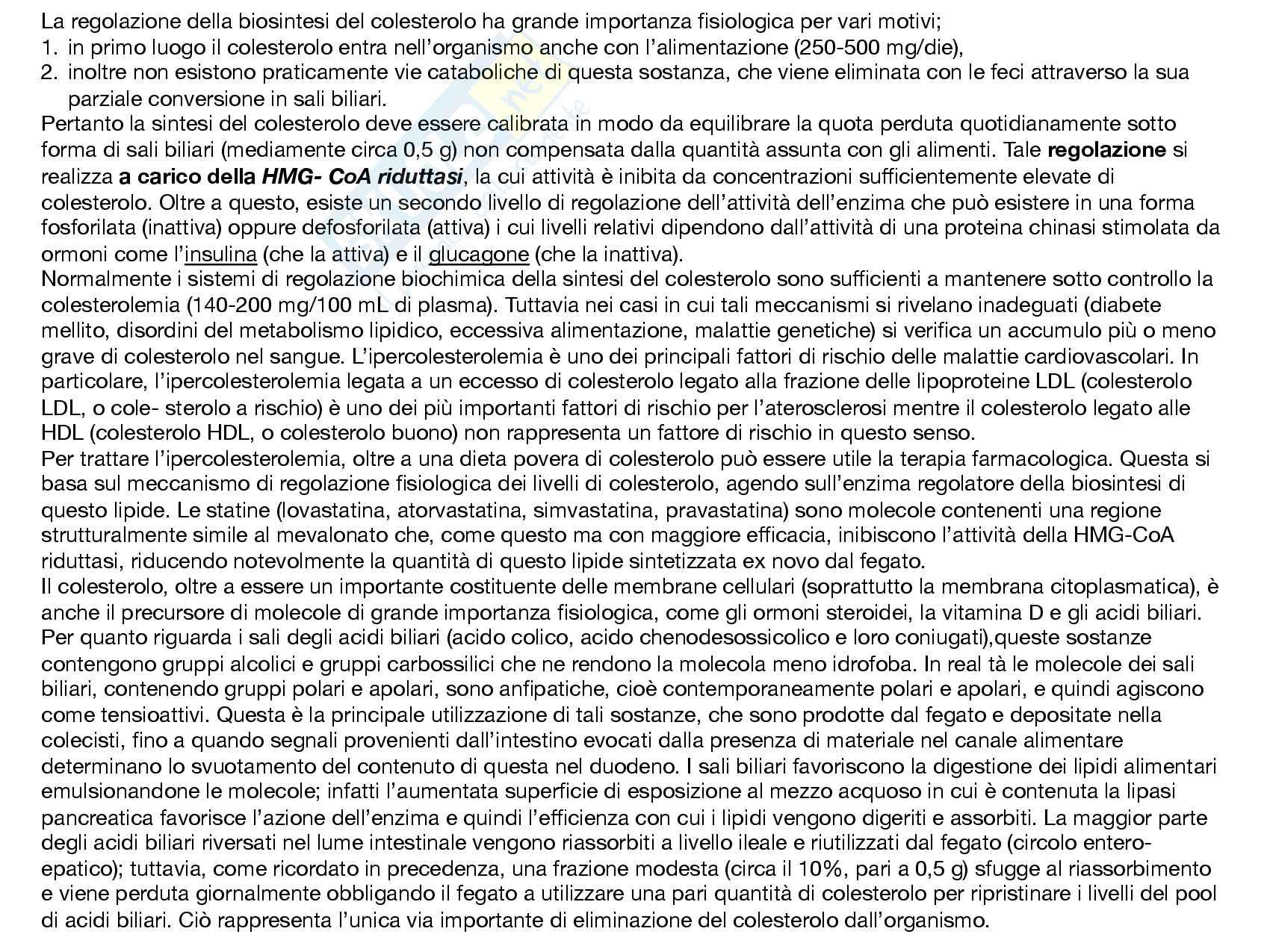 15 Metabolismo del colesterolo, biosintesi, reazioni chimiche e regoalzione e funzioni Pag. 2
