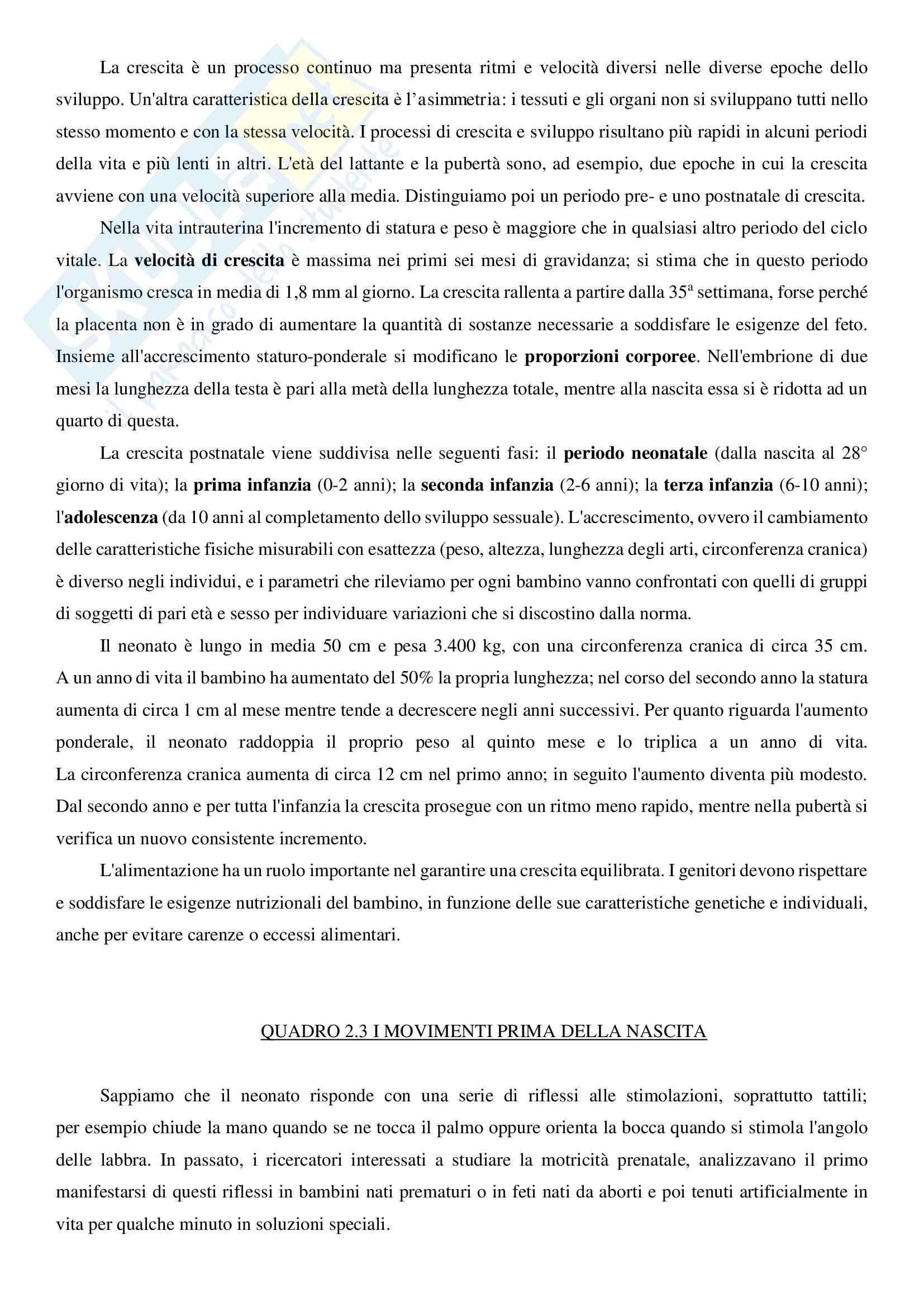 """Riassunto esame Psicologia dello sviluppo, prof.ssa Lecciso, libro adottato """"Psicologia dello sviluppo"""", Camaioni, Di Blasio Pag. 26"""