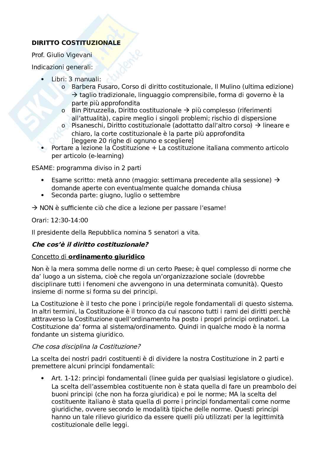 Esame di diritto costituzionale - appunti completi per la preparazione