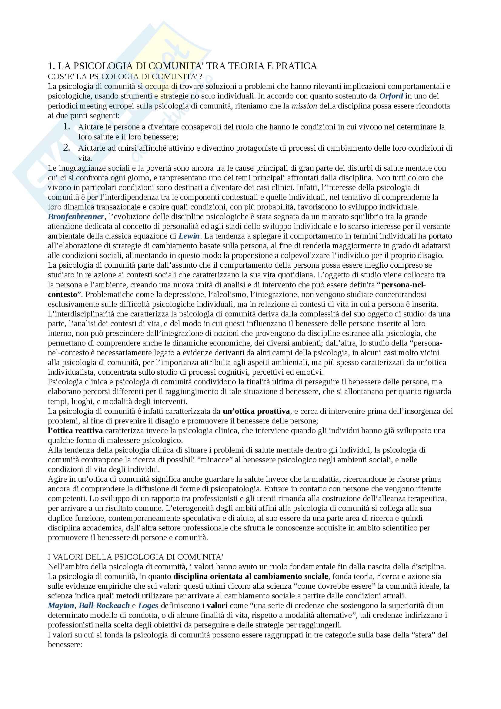 Riassunto esame psicologia dinamica, docente Massimo Santinello, libro consigliato Fodnamenti di psicologia di comunità di Santinello, Dallago, Vieno