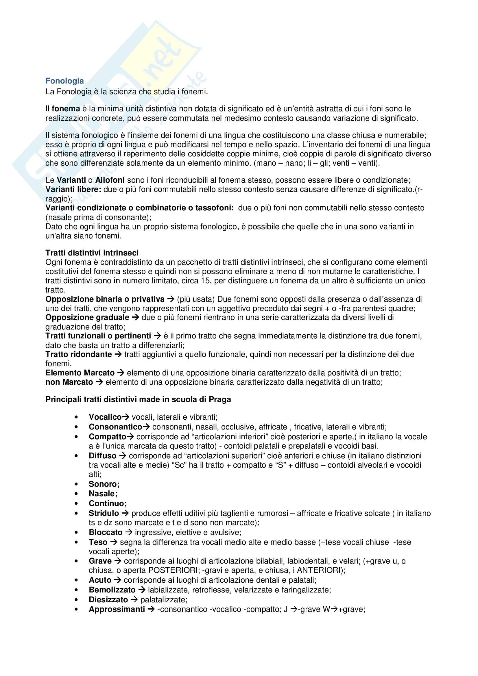 Fonologia - Appunti Pag. 1