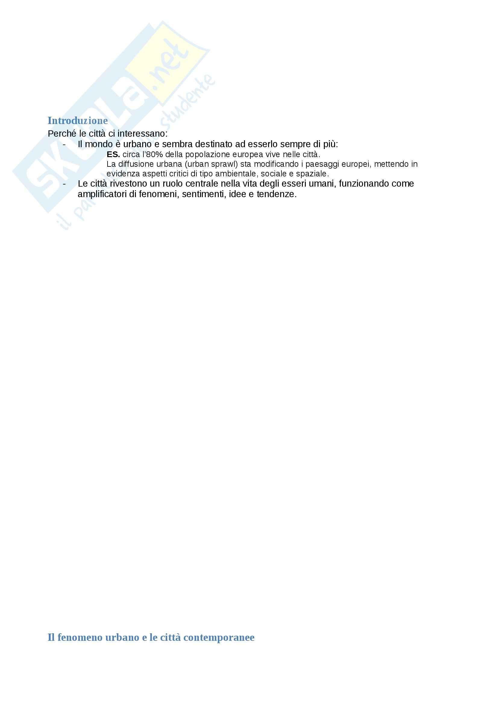 Riassunto esame Geografia, prof. Adobati, libro consigliato Geografie dell'urbano, Memoli, Governa