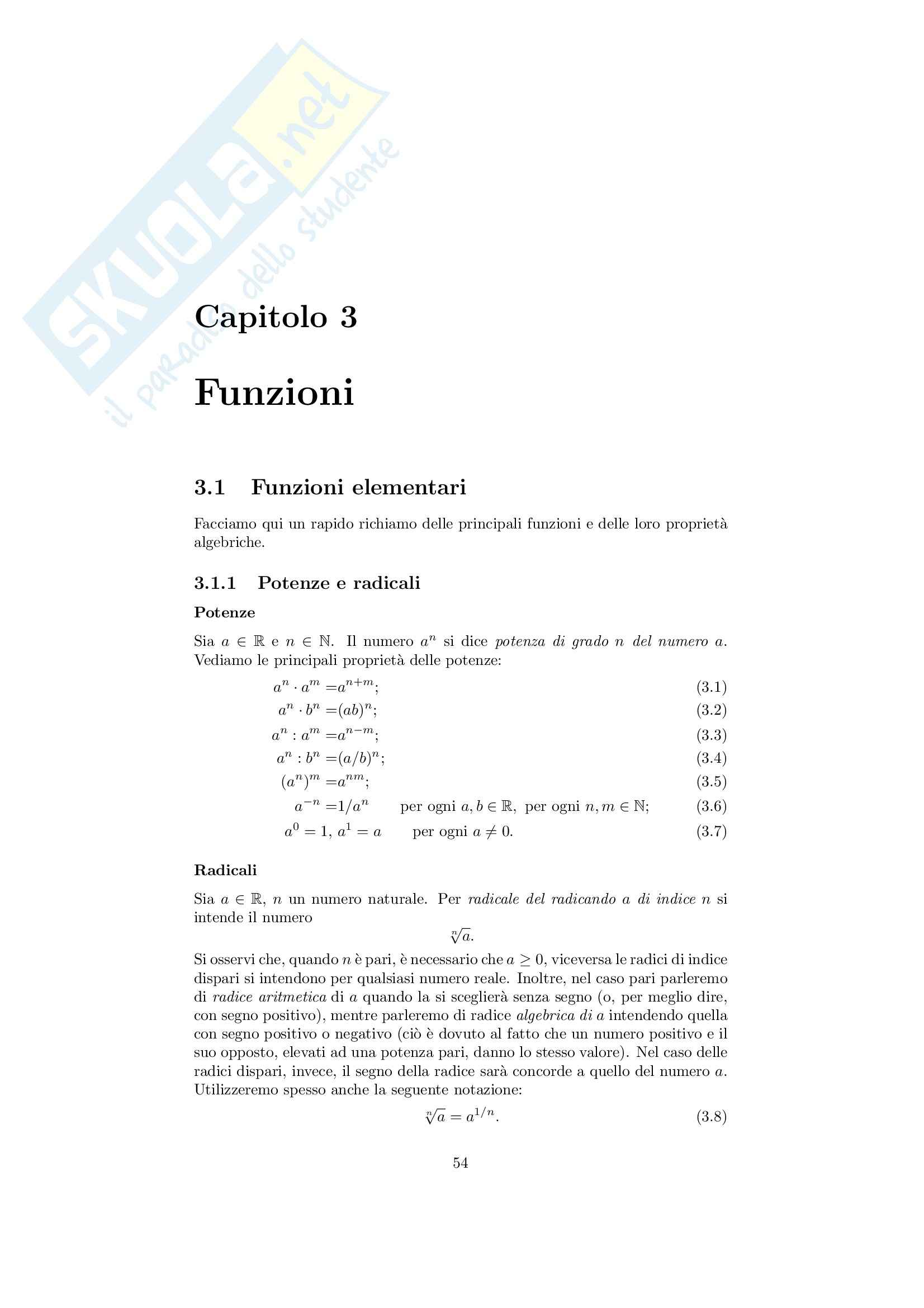 Analisi matematica 1 - Note ed esercizi svolti sulle funzioni elementari