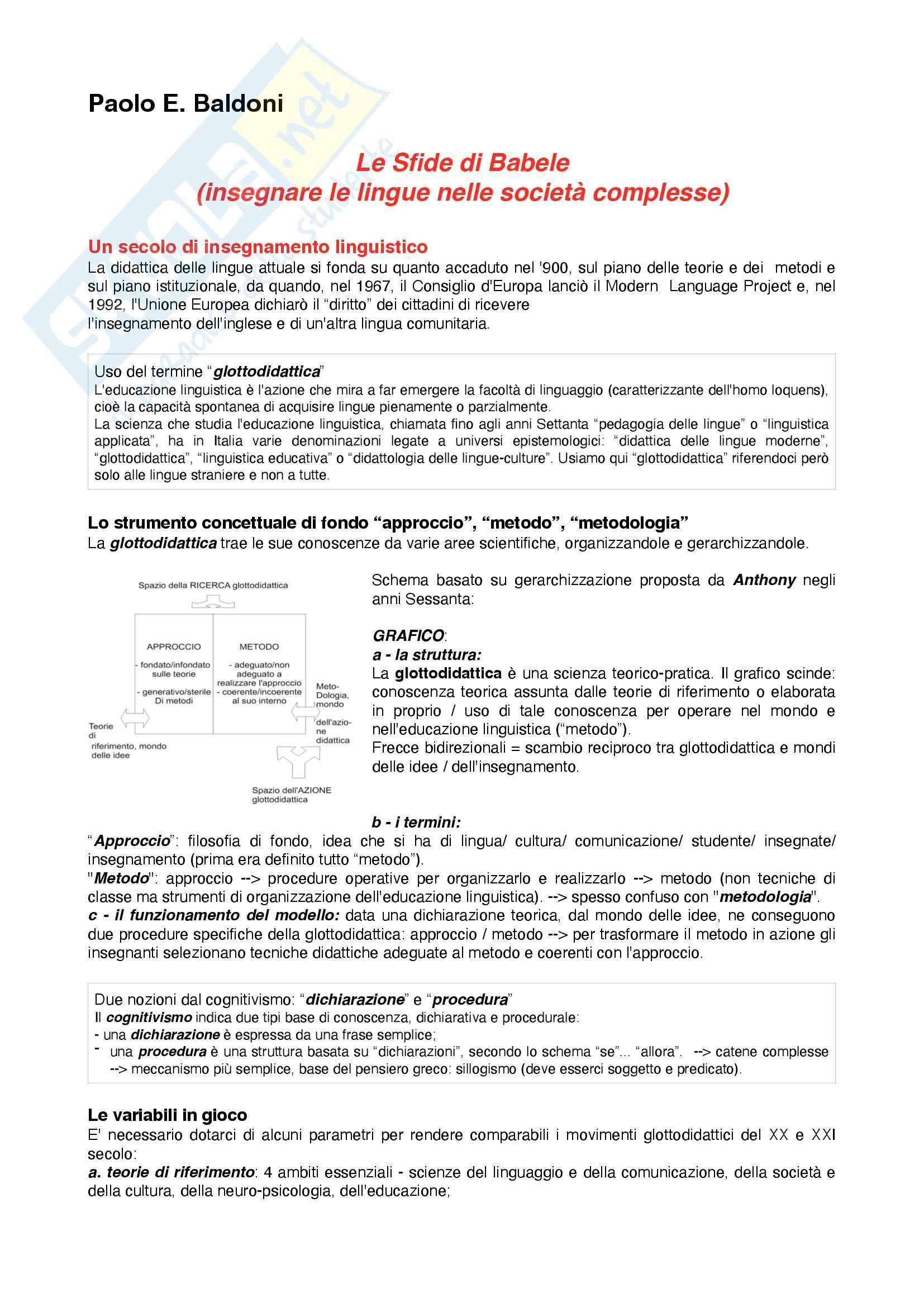 Riassunto esame Didattica delle lingue Moderne, Prof. Corino, libro consigliato Le Sfide di Babele, Baldoni