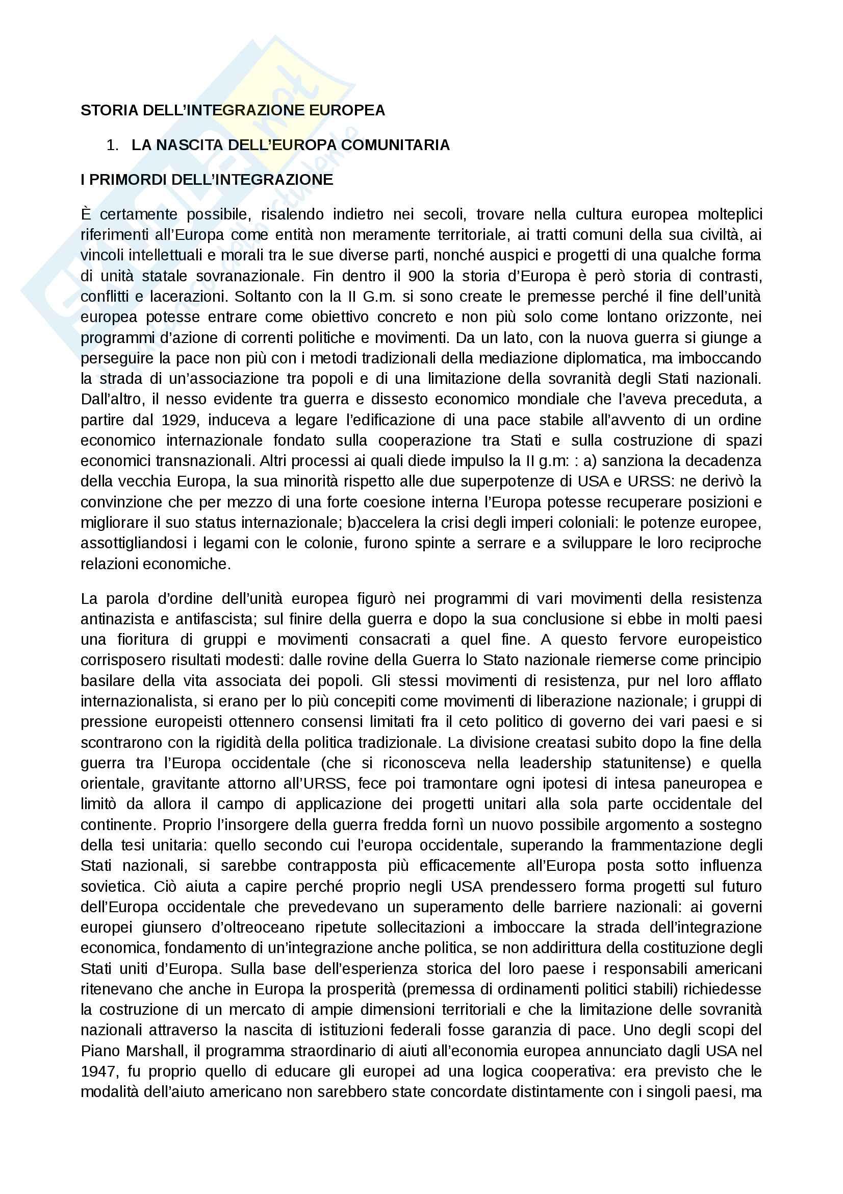 Riassunto esame storia dell'integrazione europea, prof. Rapone, libro consigliato Storia dell'integrazione europea, Rapone