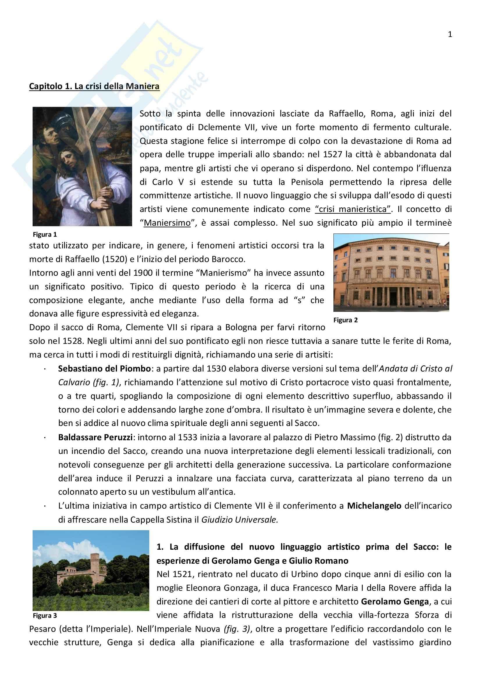 Riassunto esame Arte, prof. Ghirardi, libro consigliato Arte nel tempo - Dalla crisi della Maniera al Rococò, De vecchi, Cerchiari