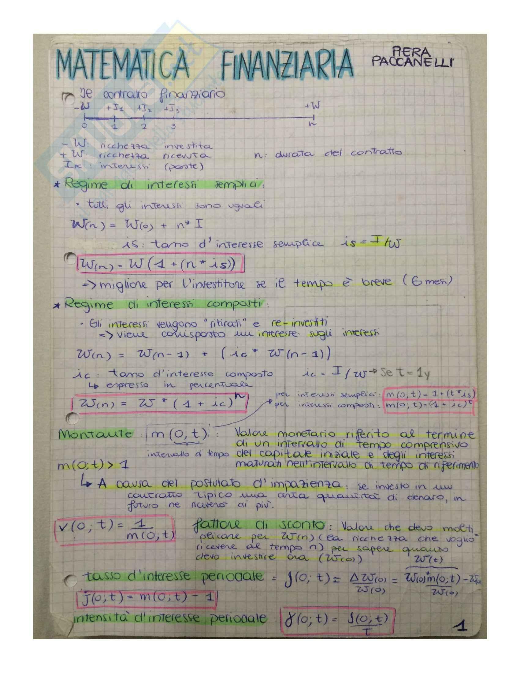 Matematica finanziaria - Appunti, definizioni e formule