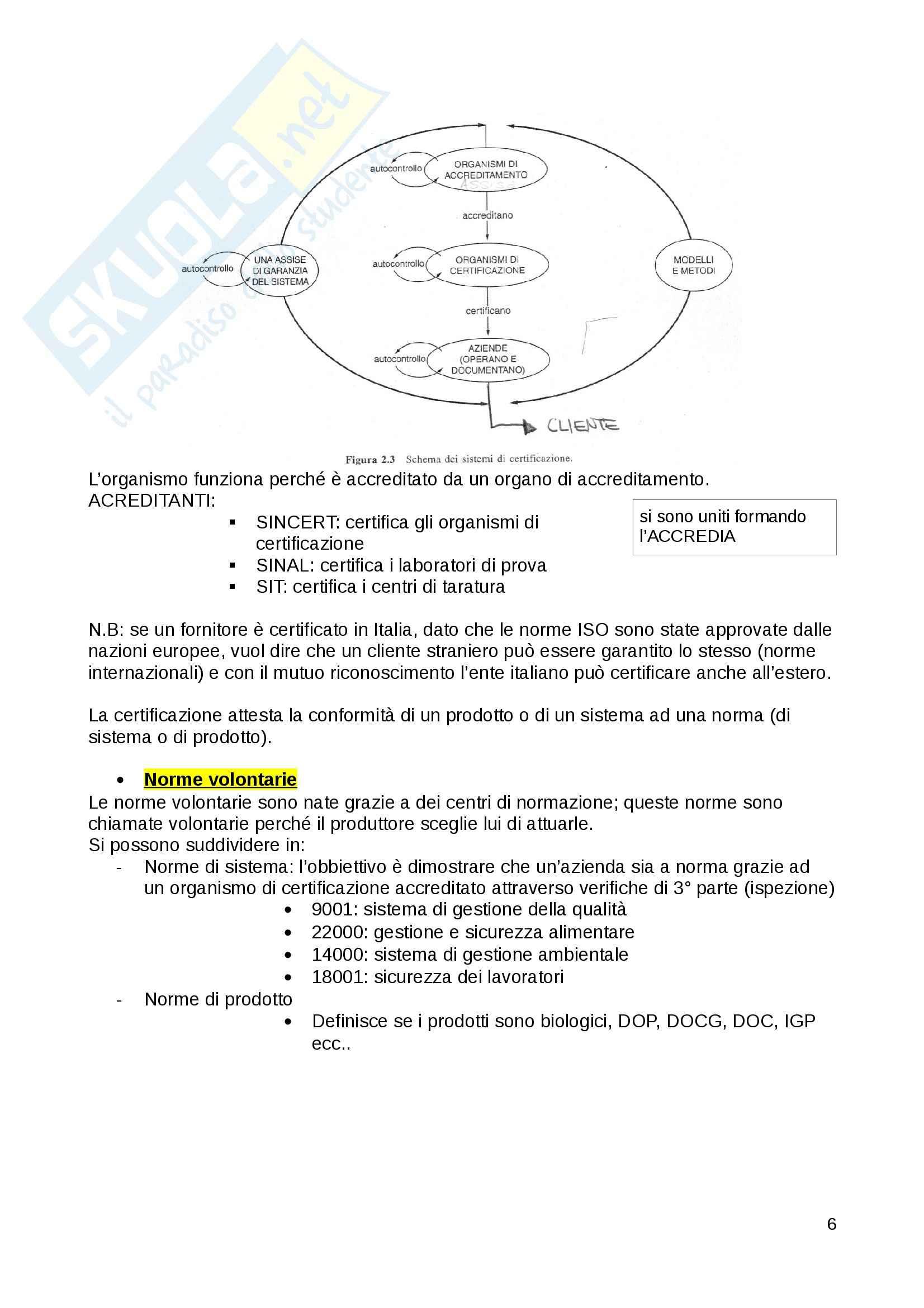 Qualità e sicurezza alimentare - sistemi di qualità Pag. 6