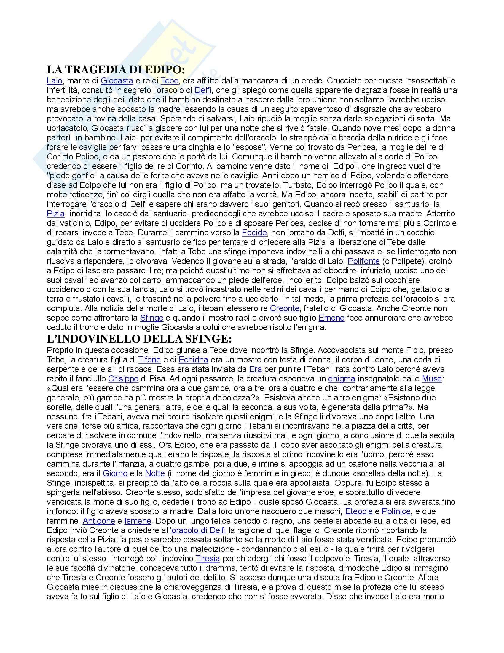 Storia del pensiero giuridico e politico nel mondo antico – Edipo