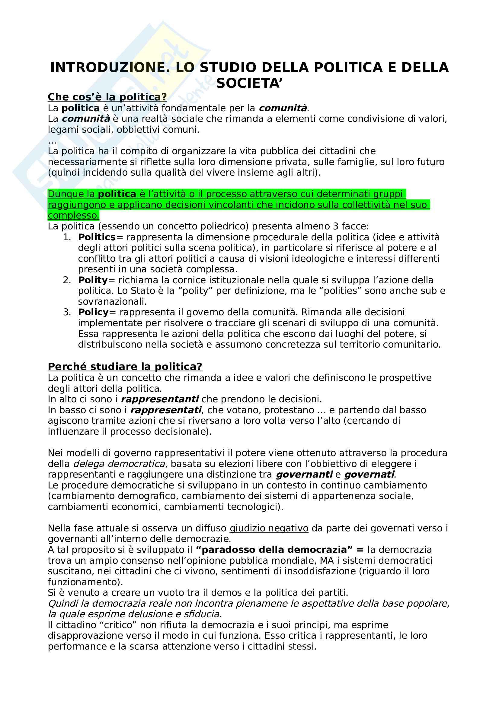 """Riassunto esame di sociologia politica, libro consigliato """"tra politica e società"""" di Ceccarini"""