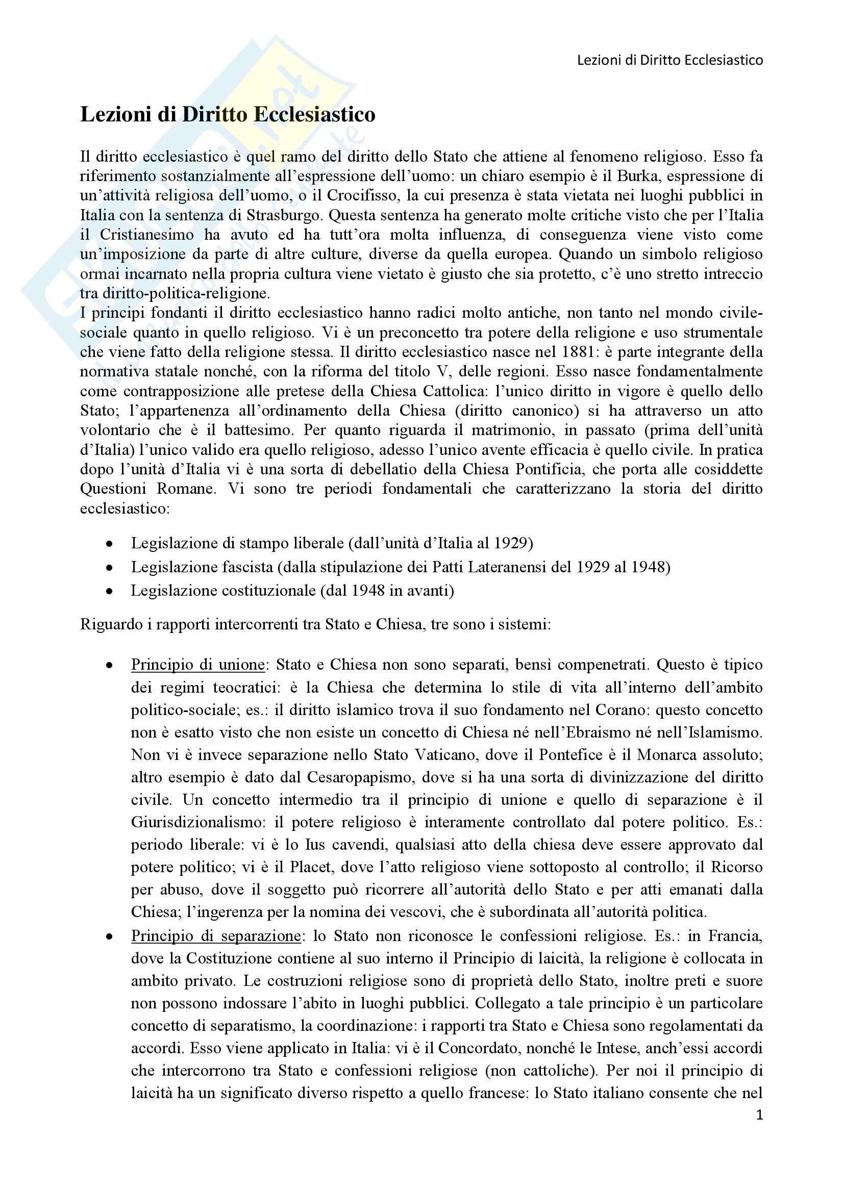 Diritto Ecclesiastico - Lezioni professoressa D'Arienzo