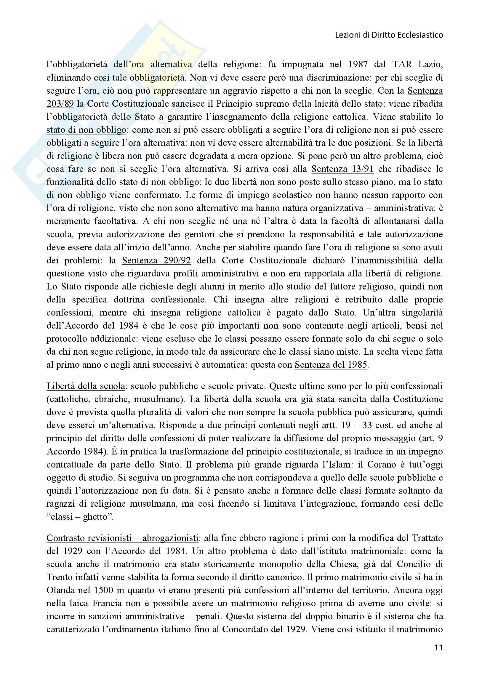 Diritto Ecclesiastico - Lezioni professoressa D'Arienzo Pag. 11