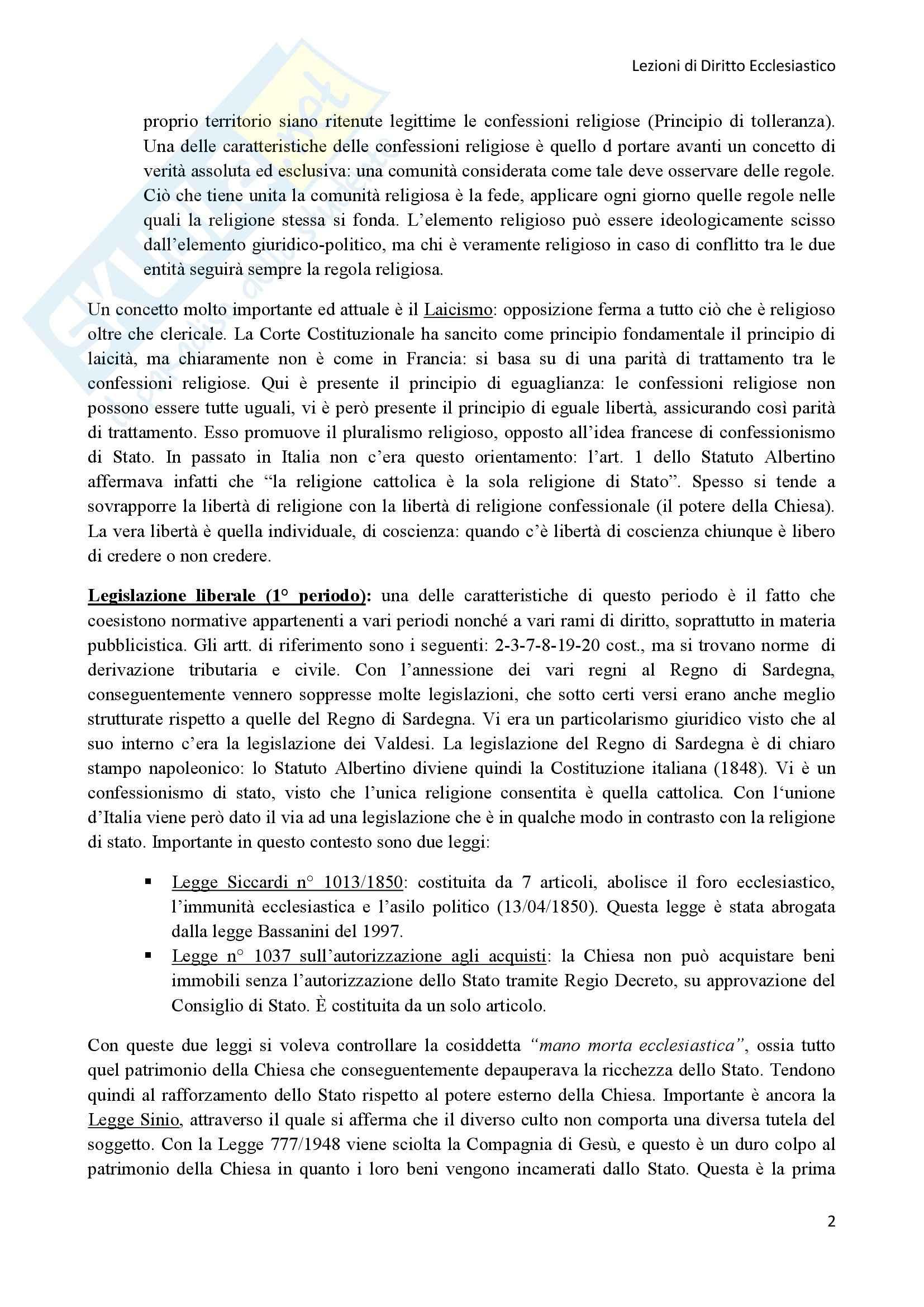Diritto Ecclesiastico - Lezioni professoressa D'Arienzo Pag. 2