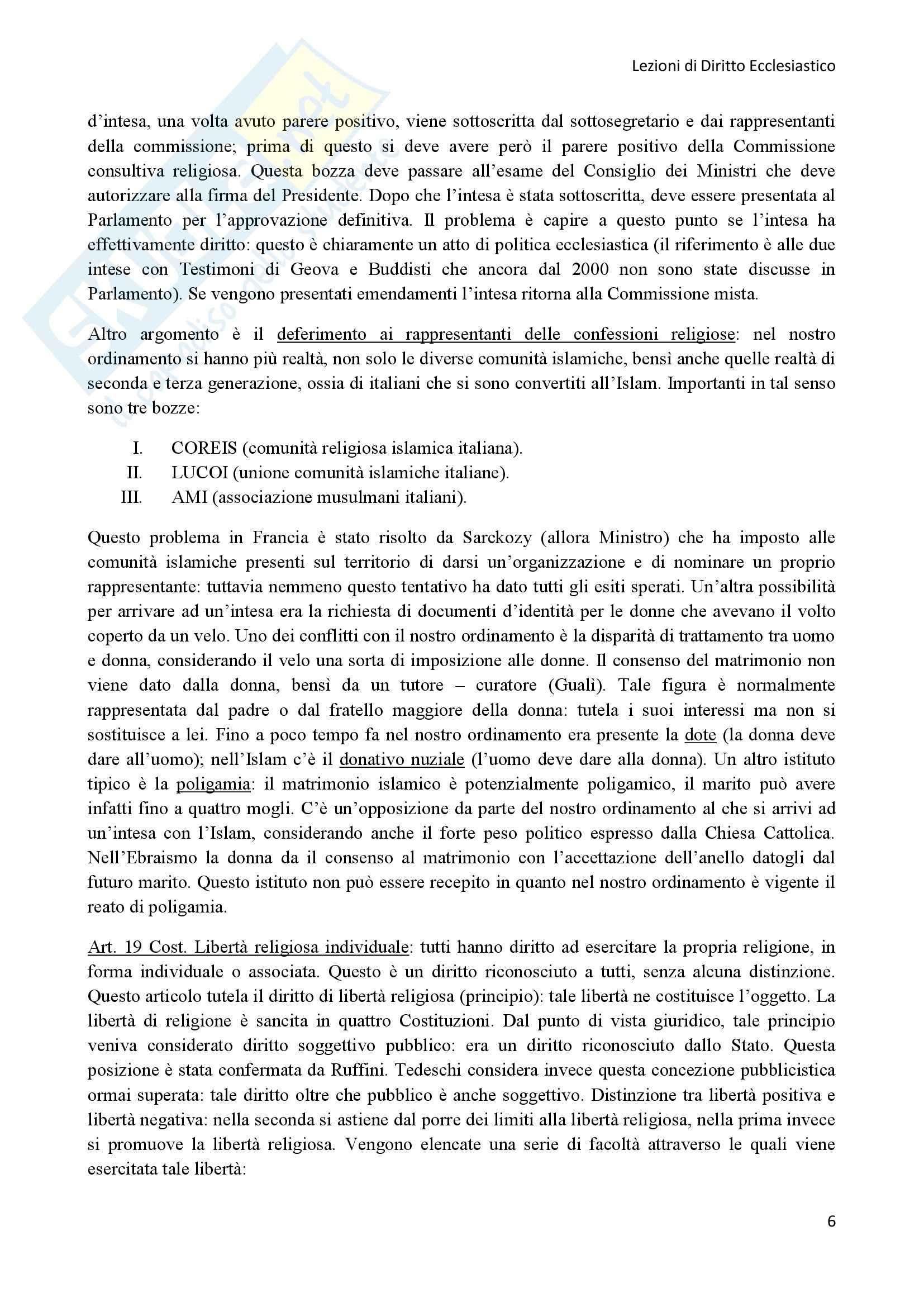 Diritto Ecclesiastico - Lezioni professoressa D'Arienzo Pag. 6