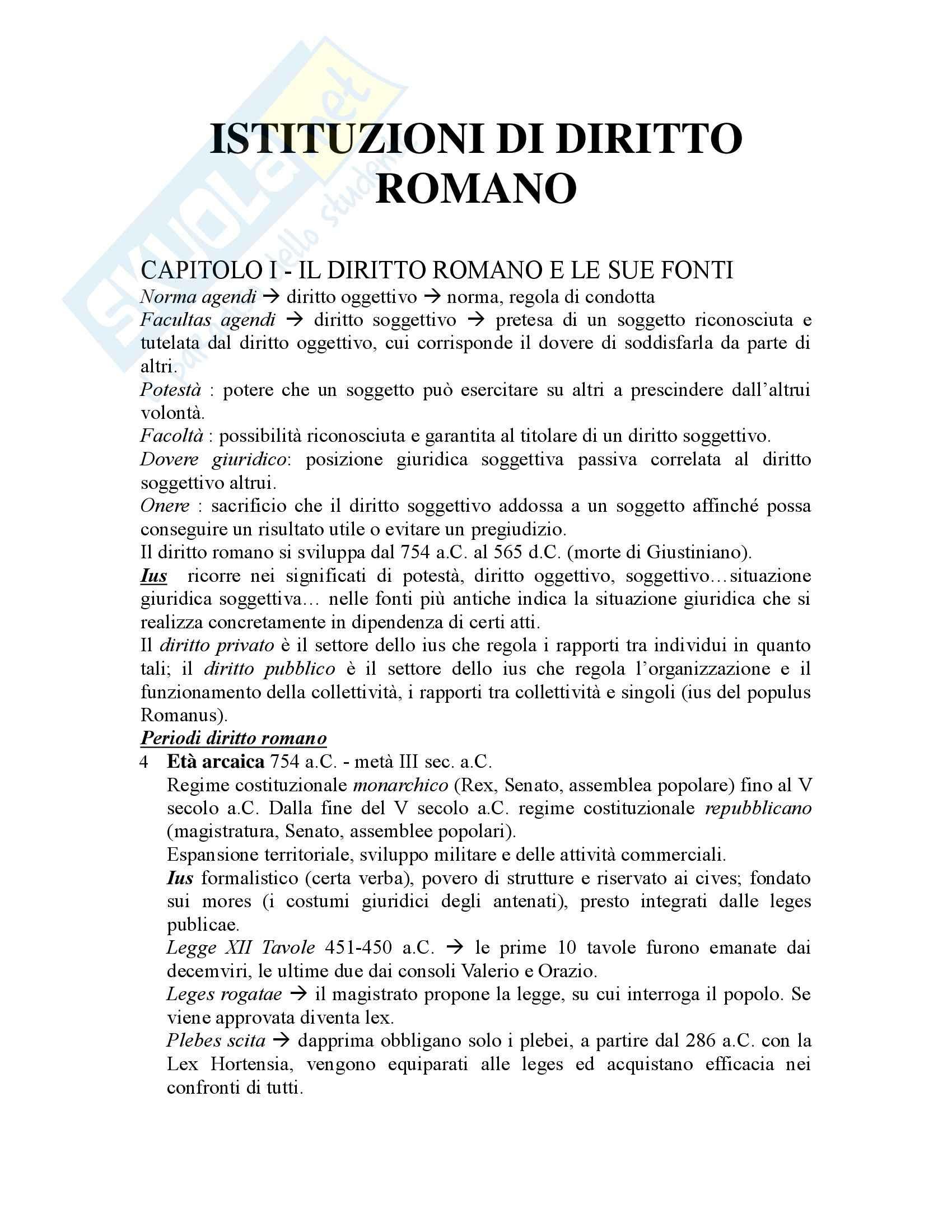 Riassunto esame Istituzioni di Diritto Romano, prof. Buzzacchi, libro consigliato Istituzioni di Diritto Romano, Marrone