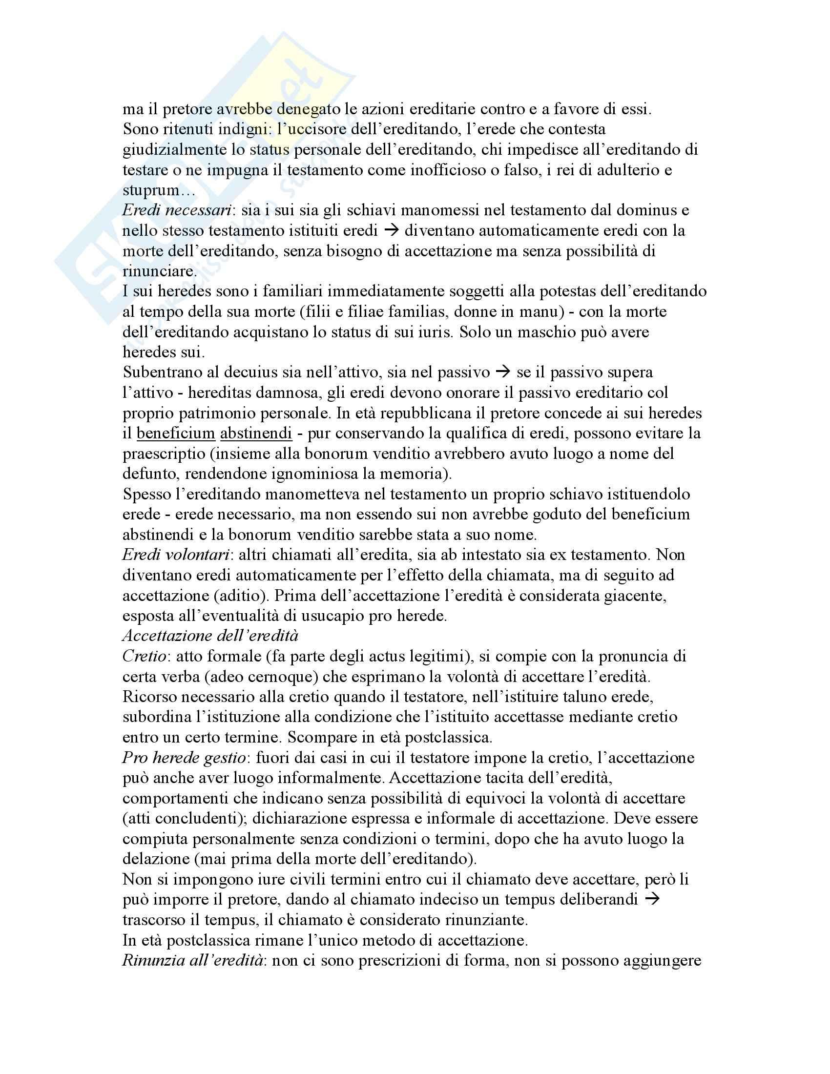 Riassunto esame Istituzioni di Diritto Romano, prof. Buzzacchi, libro consigliato Istituzioni di Diritto Romano, Marrone Pag. 71