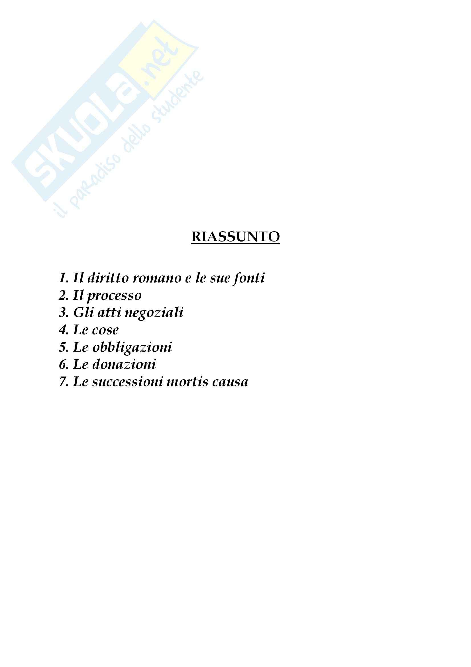 Riassunto esame Diritto Privato Romano, prof. Lantella, libro consigliato Lineamenti di Diritto Privato, Marrone