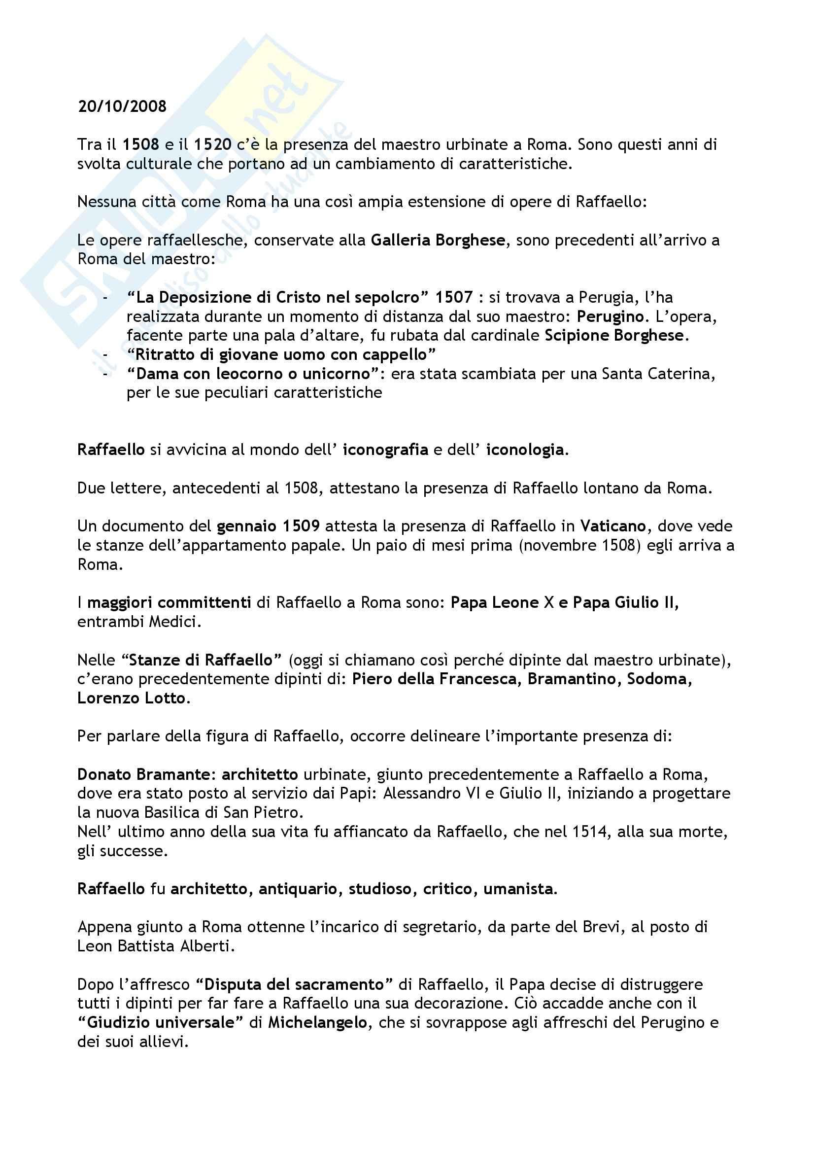 Raffaello a Roma prima parte - Appunti