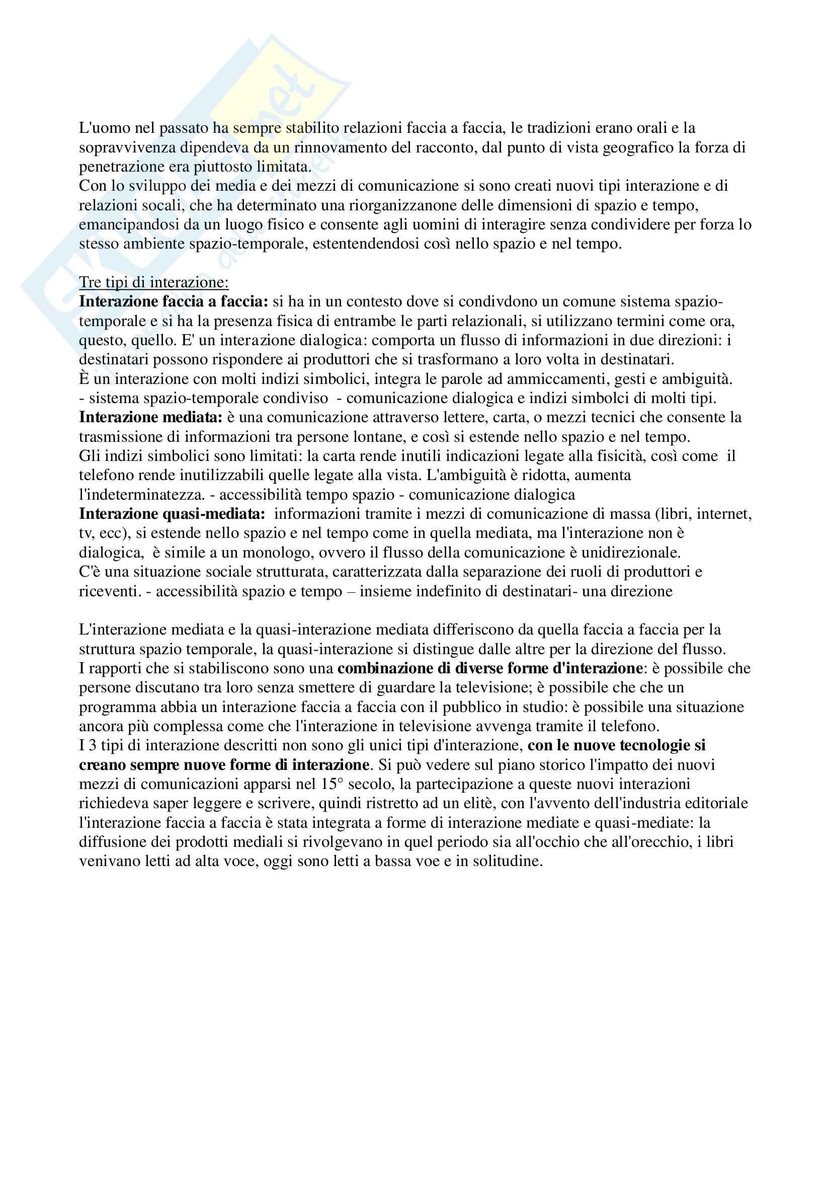 Riassunto esame Sociologia della Comunicazione, prof. Lalli, libro consigliato La Nascita dell'Interazione Mediata, Thompson