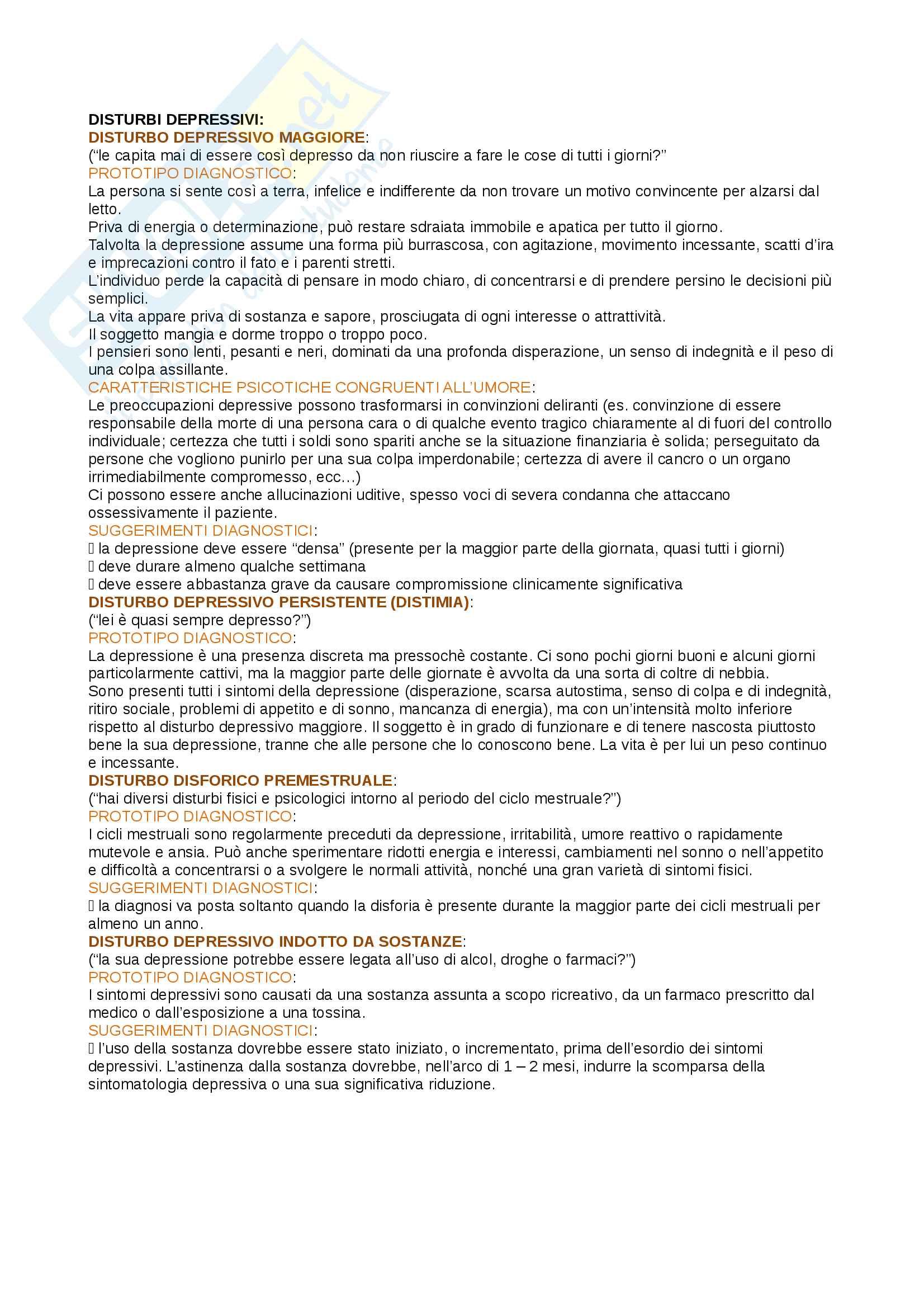 Riassunto esame psicopatologia generale, prof Antonio Prunas, libro consigliato DSM - 5, psicologia clinica, kring, la diagnosi in psichiatria, Frances