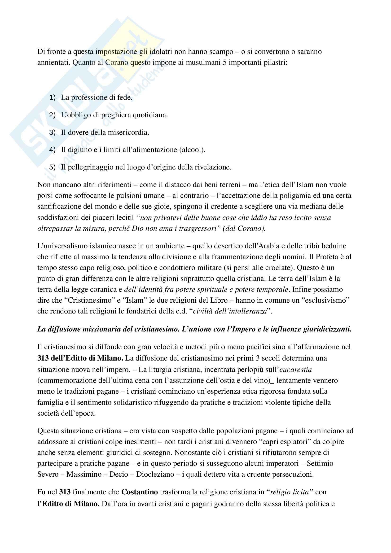 Riassunto esame Diritto ecclesiastico, Professore Cardia, libro consigliato Principi di diritto ecclesiastico Pag. 2