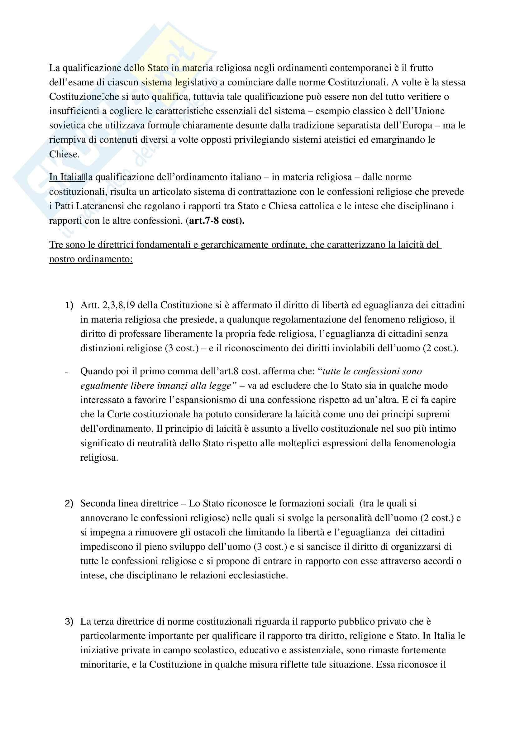 Riassunto esame Diritto ecclesiastico, Professore Cardia, libro consigliato Principi di diritto ecclesiastico Pag. 21