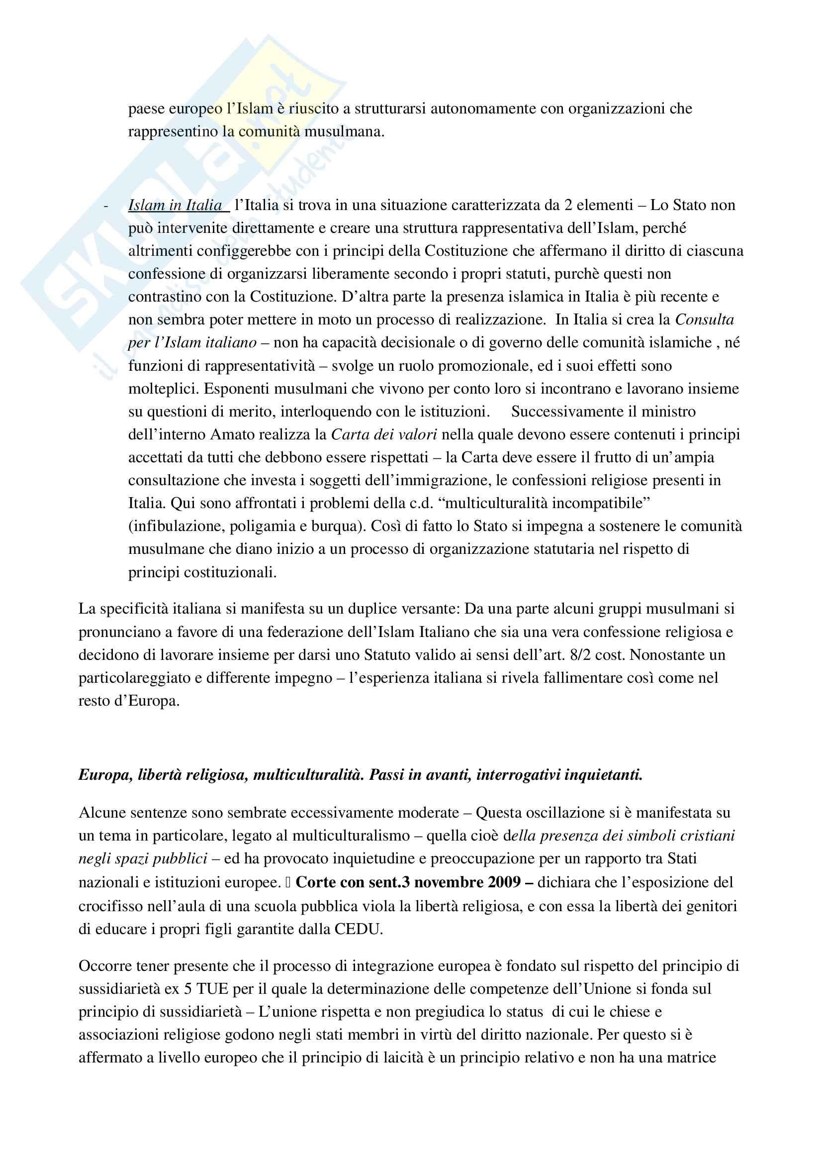 Riassunto esame Diritto ecclesiastico, Professore Cardia, libro consigliato Principi di diritto ecclesiastico Pag. 41