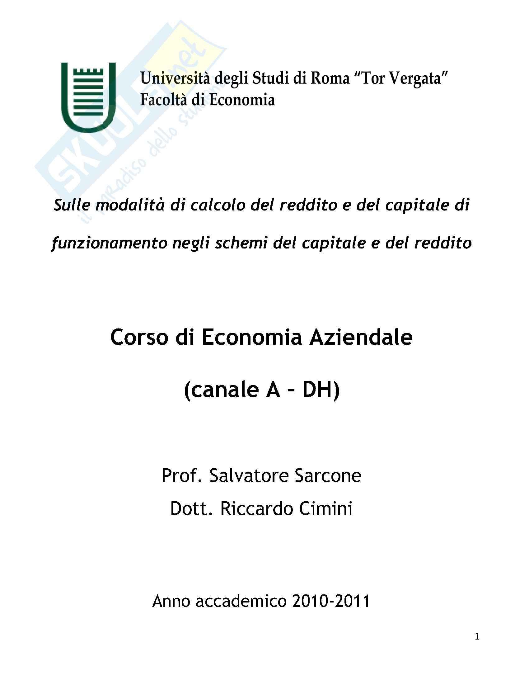 esercitazione S. Sarcone Economia Aziendale