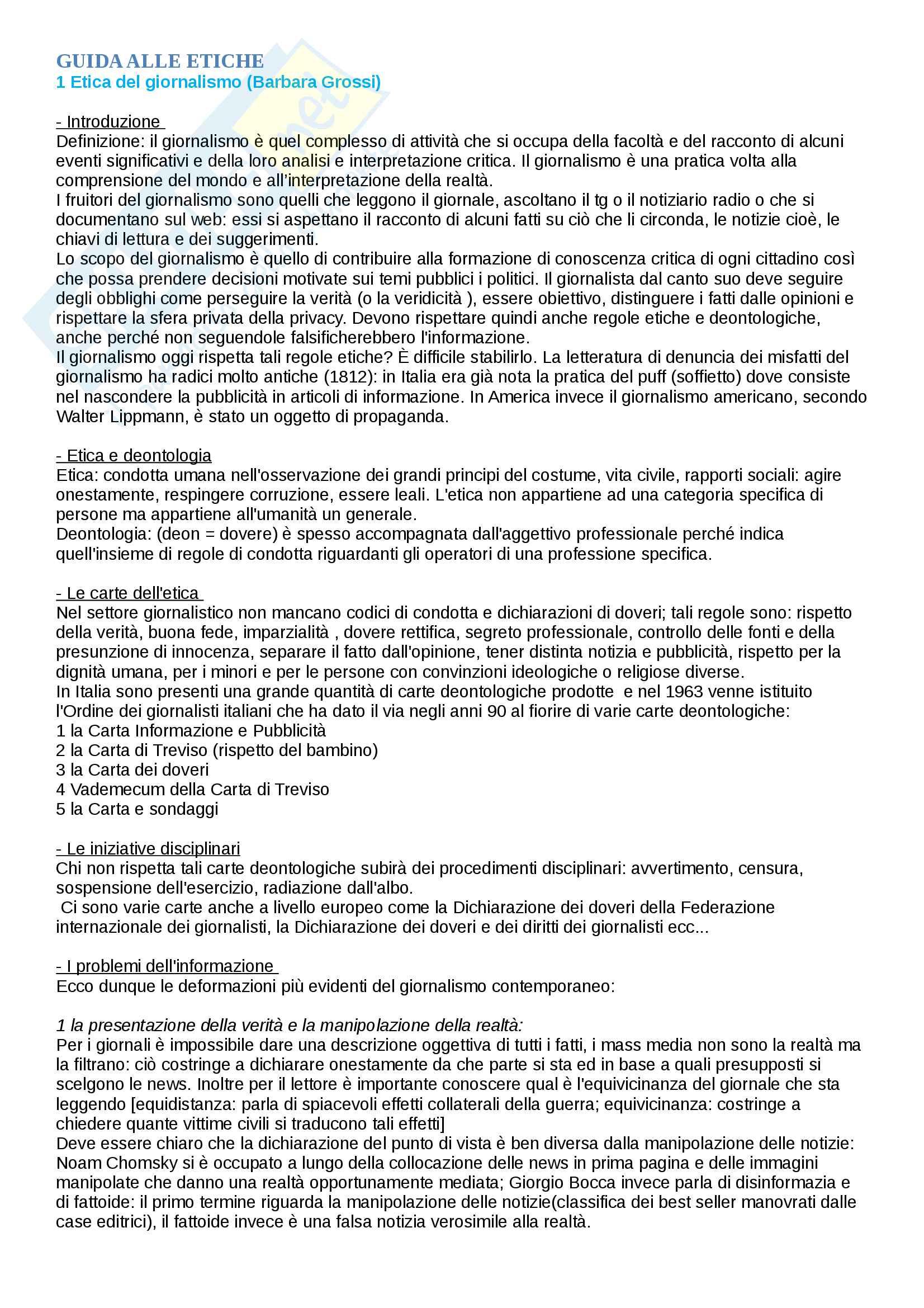 """Riassunto esame Etica della comunicazione, prof. Gessi, libro consigliato: """"Guida alle etiche della comunicazione"""", Autore Fabris Adriano"""