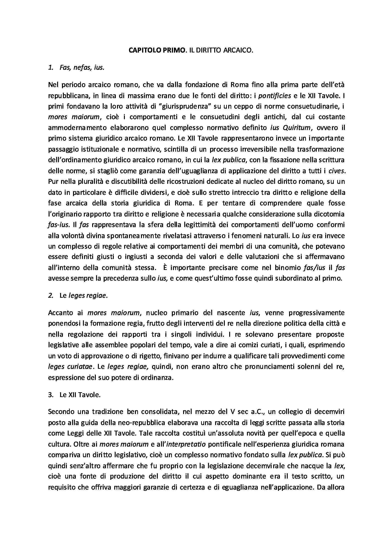 Le fonti di produzione del diritto romano - Riassunto esame