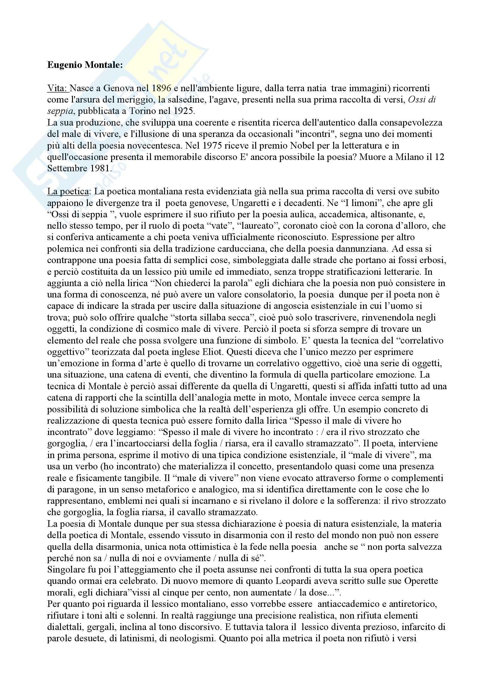 Letteratura italiana - Eugenio Montale