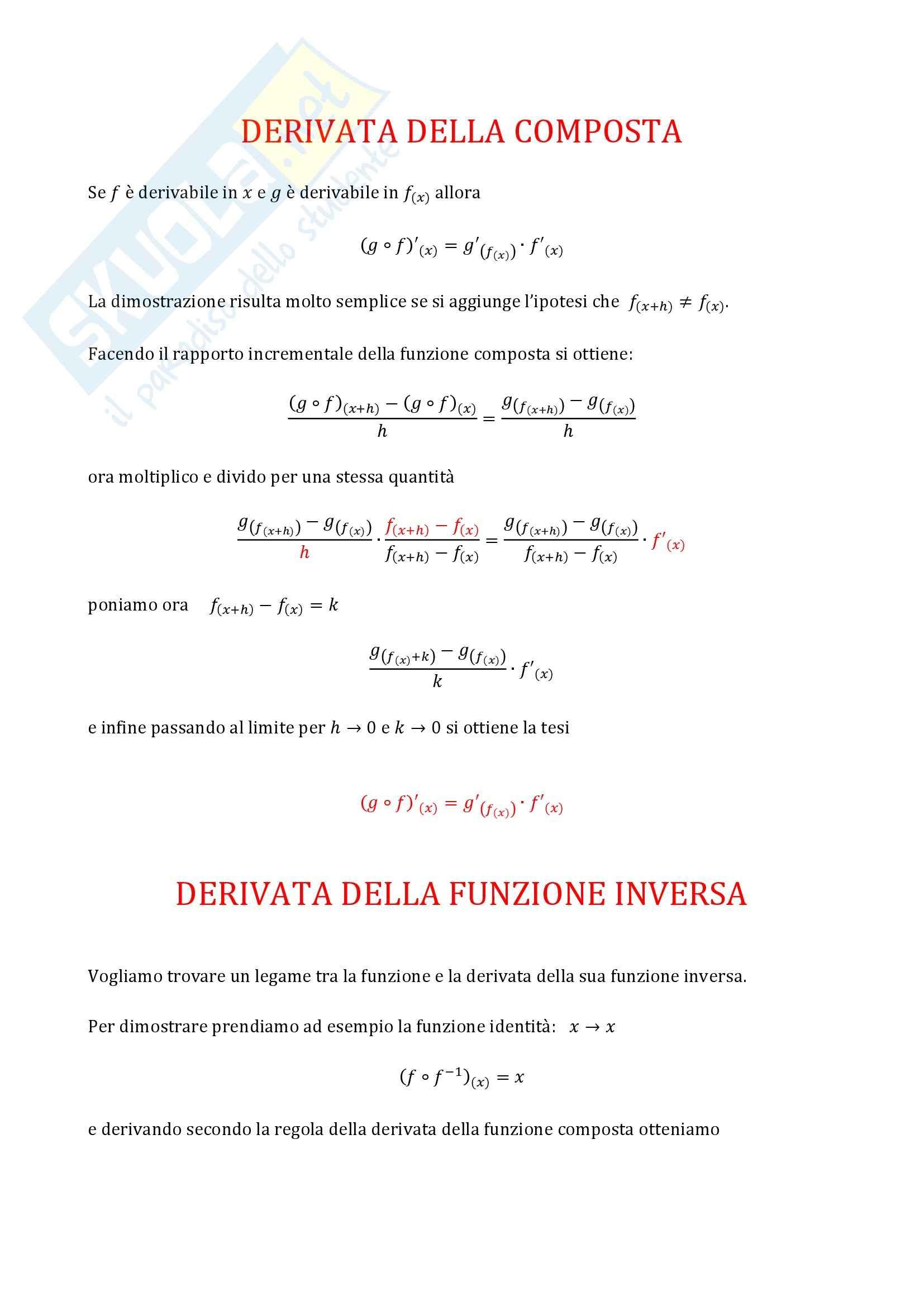 Analisi matematica 1 - Derivazione ed Integrazione