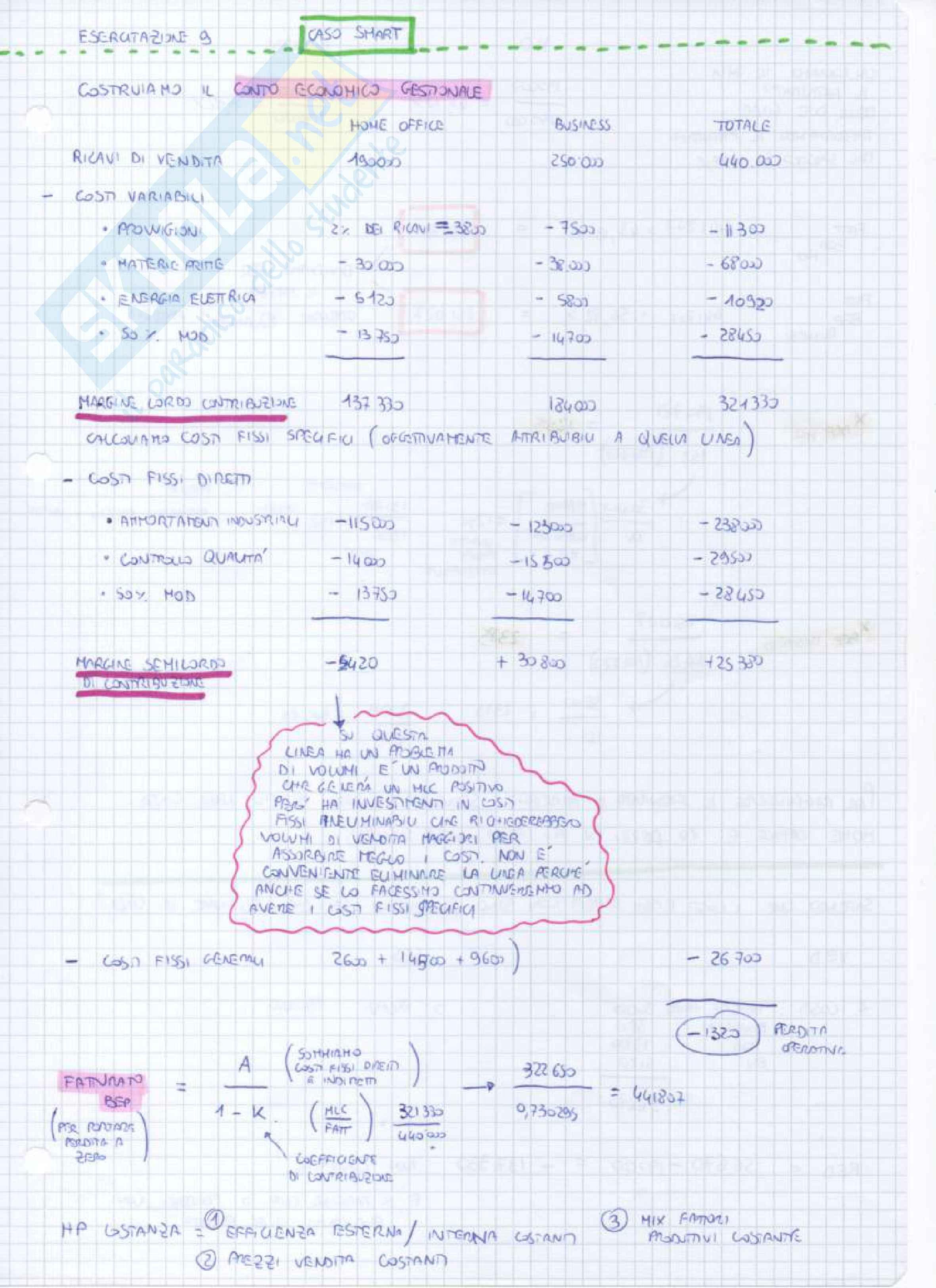 Appunti lezioni (Esercitazioni) programmazione e controllo Pag. 16