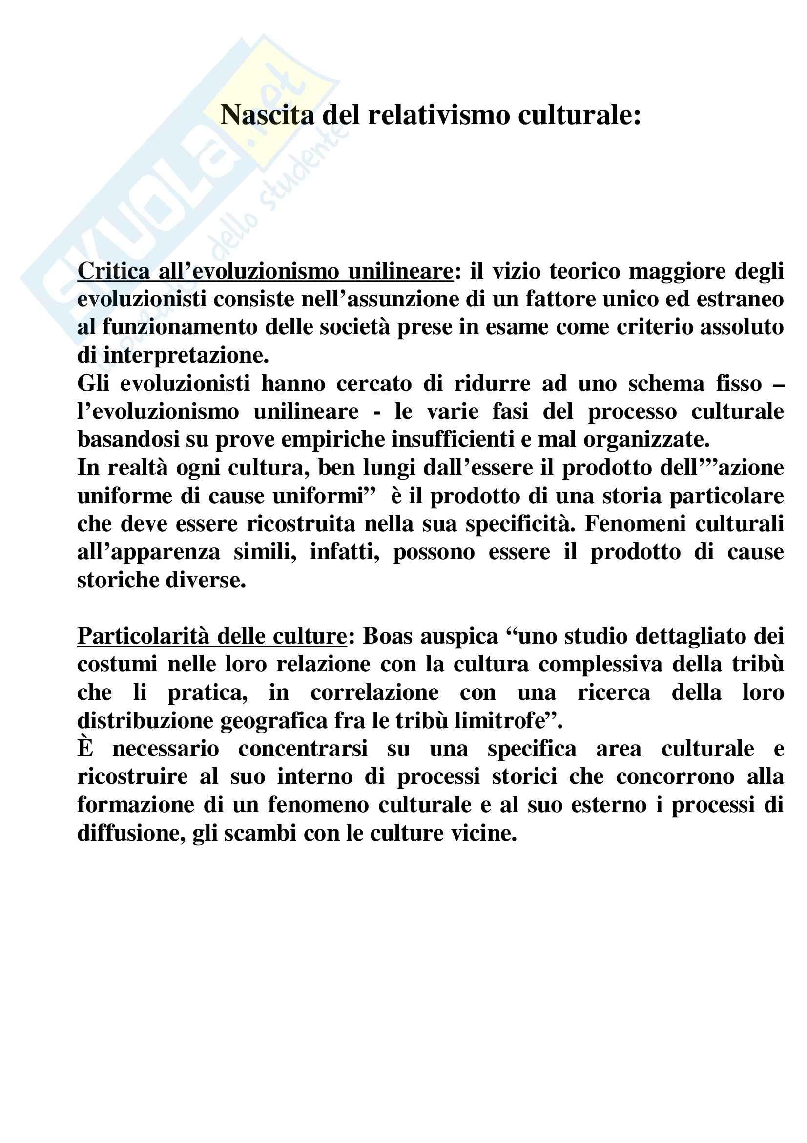 Riassunto esame Antropologia Culturale, prof. indefinito, libro consigliato Nascita del Relativismo Culturale, Boas