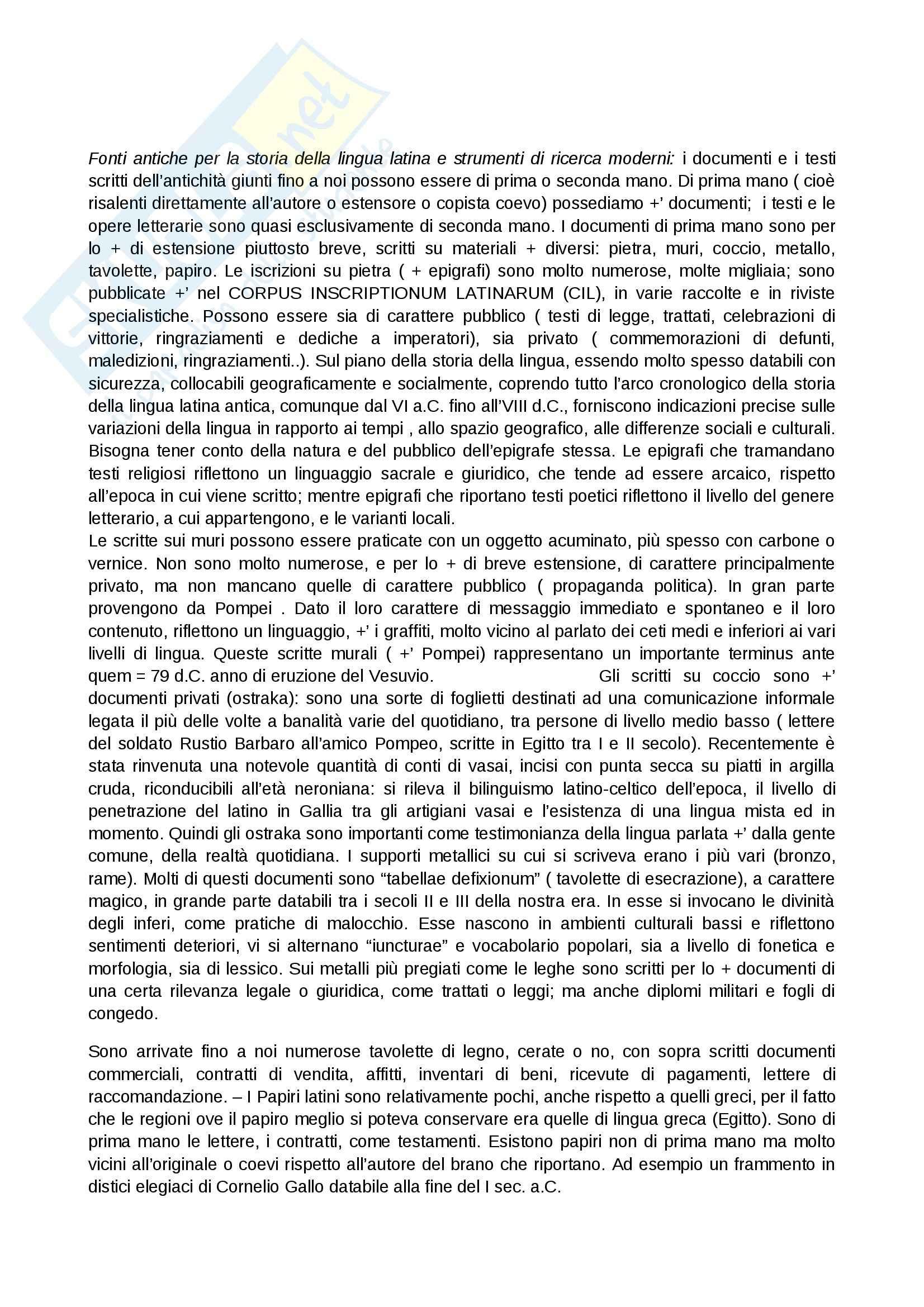 Riassunto esame Lingua latina, prof. Mordeglia, libro consigliato Storia della lingua latina e del suo contesto, Mazzini