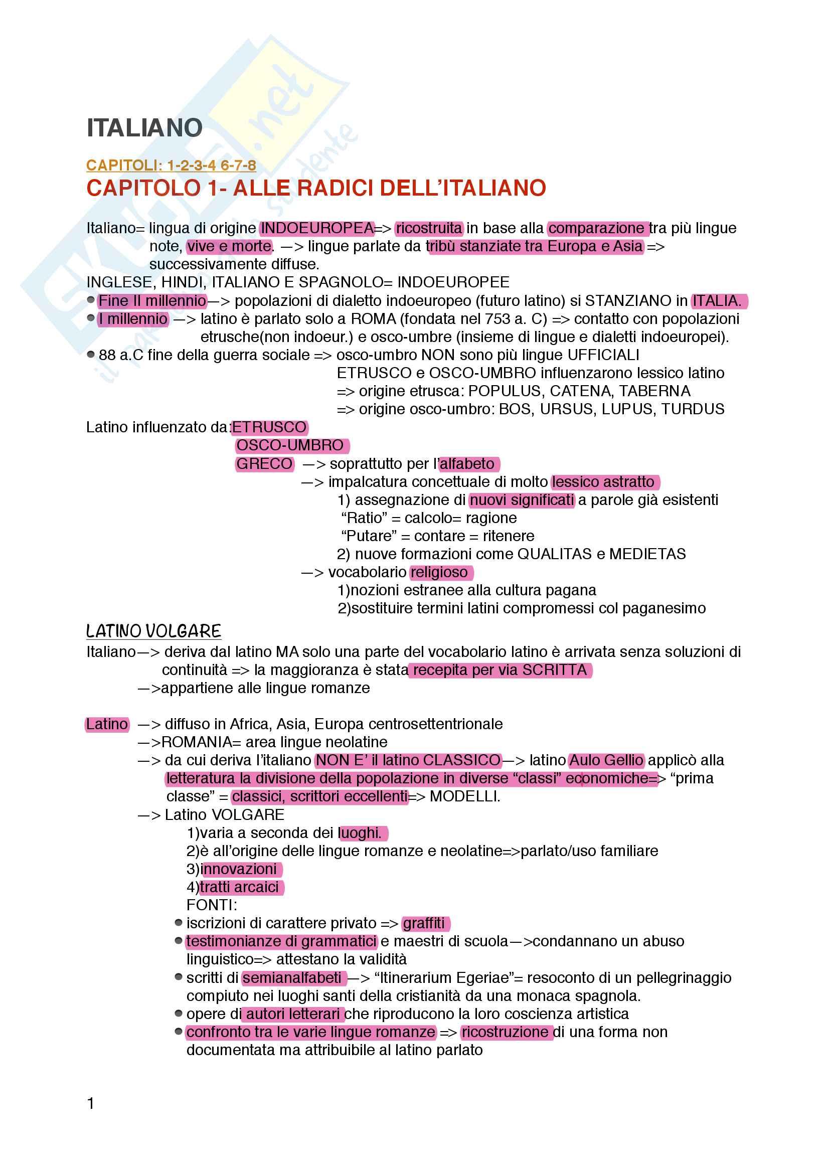 Italiano, appunti