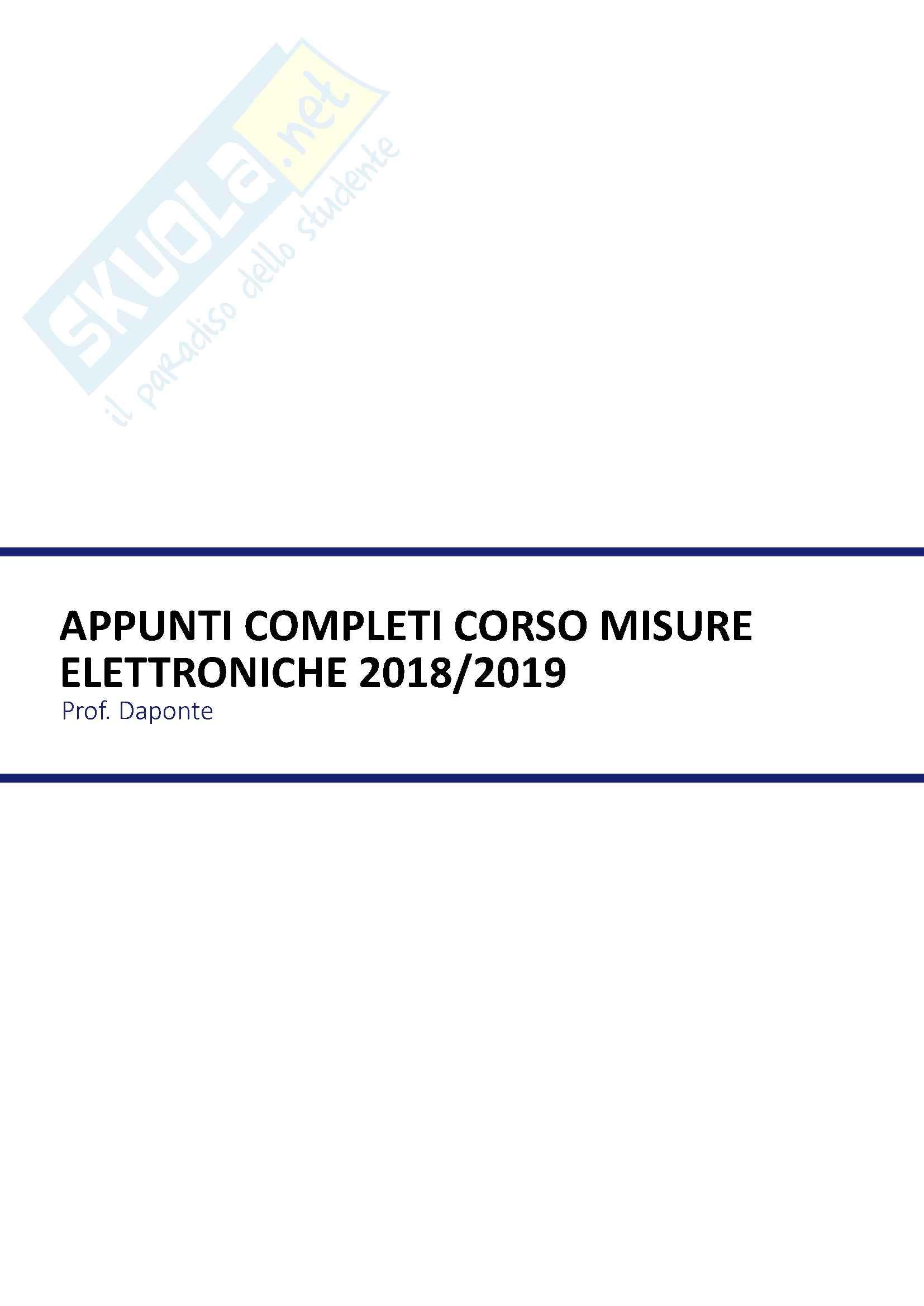 Appunti completi di Misure Elettroniche