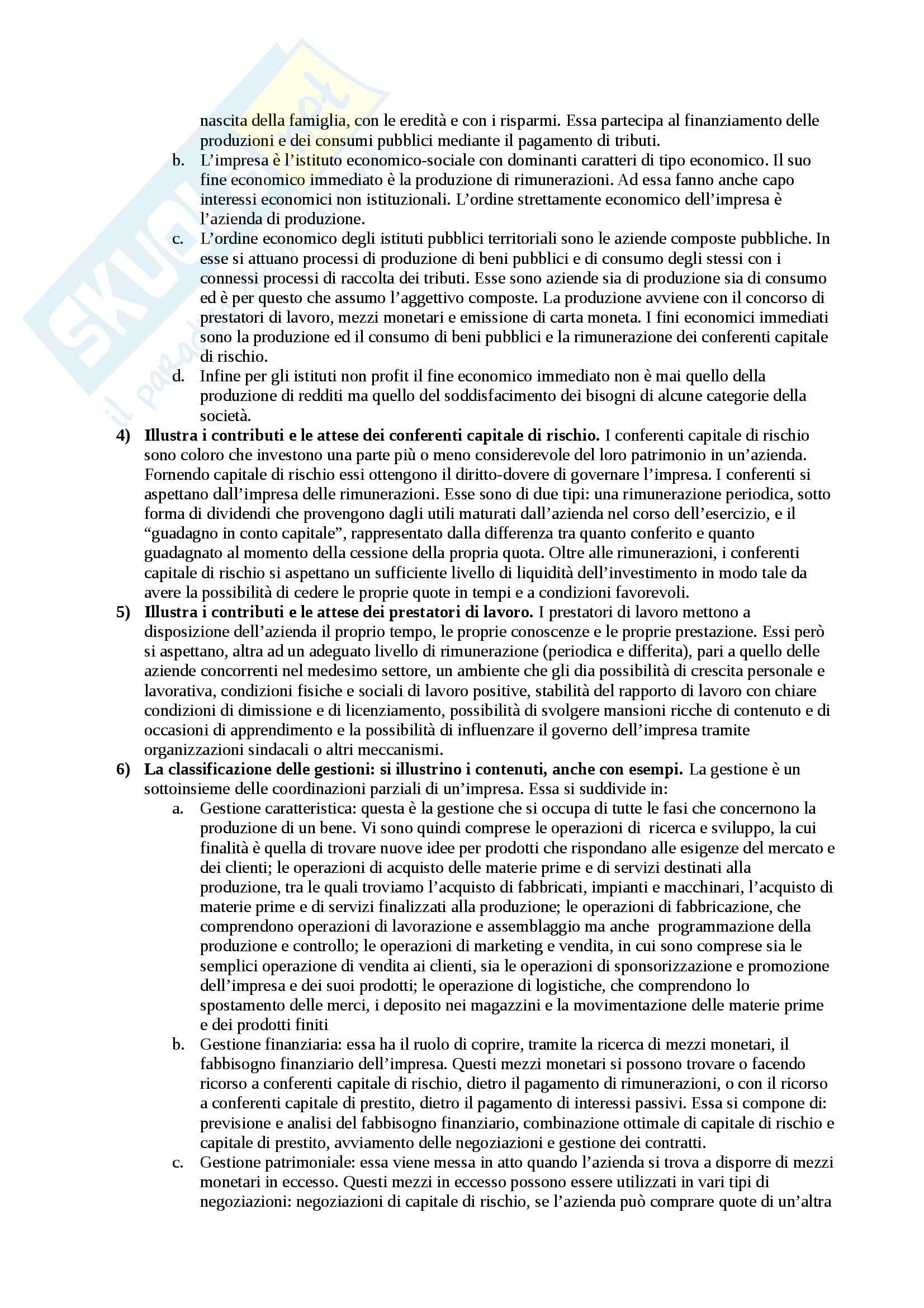 Set di circa 30 domande e risposte per il ripasso di economia aziendale I Pag. 2