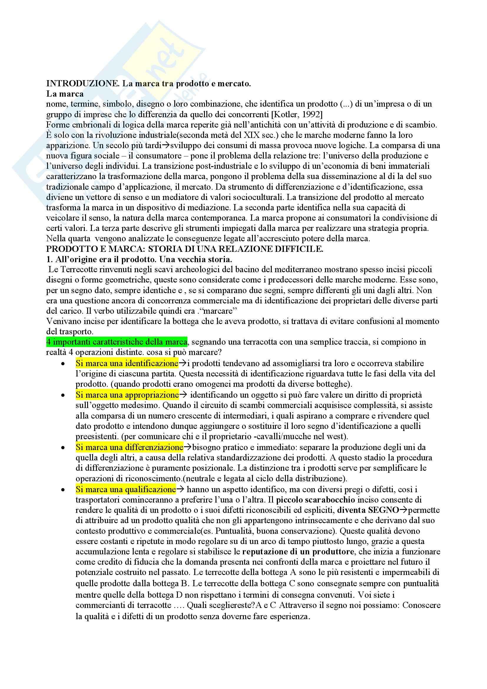 Riassunto esame Economia, prof. Qualizza, libro consigliato La marca: Dal prodotto al mercato, dal mercato alla società, Semprini