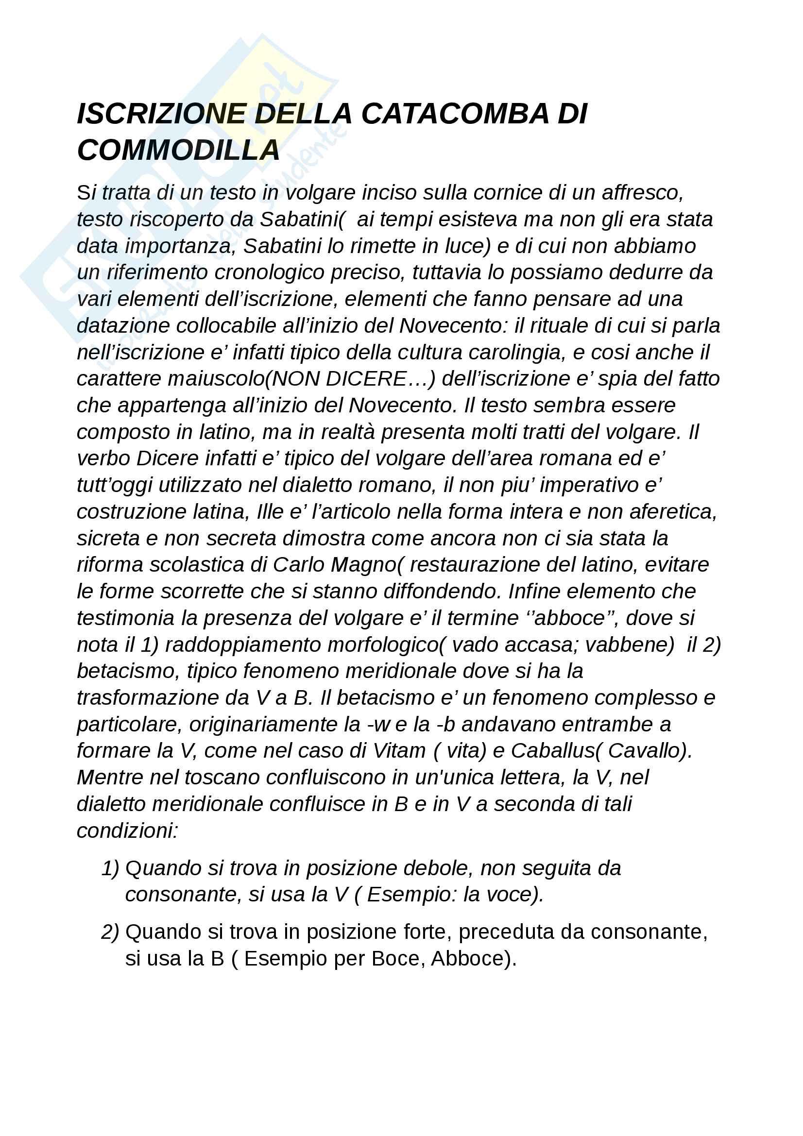 appunto P. Manni Storia della lingua italiana