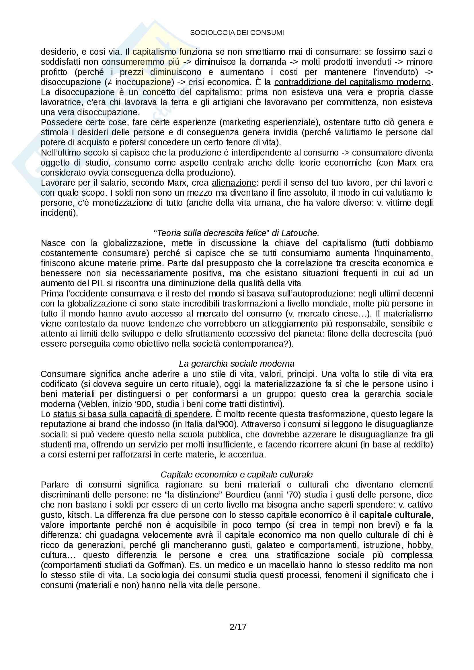 Sociologia dei consumi Pag. 2