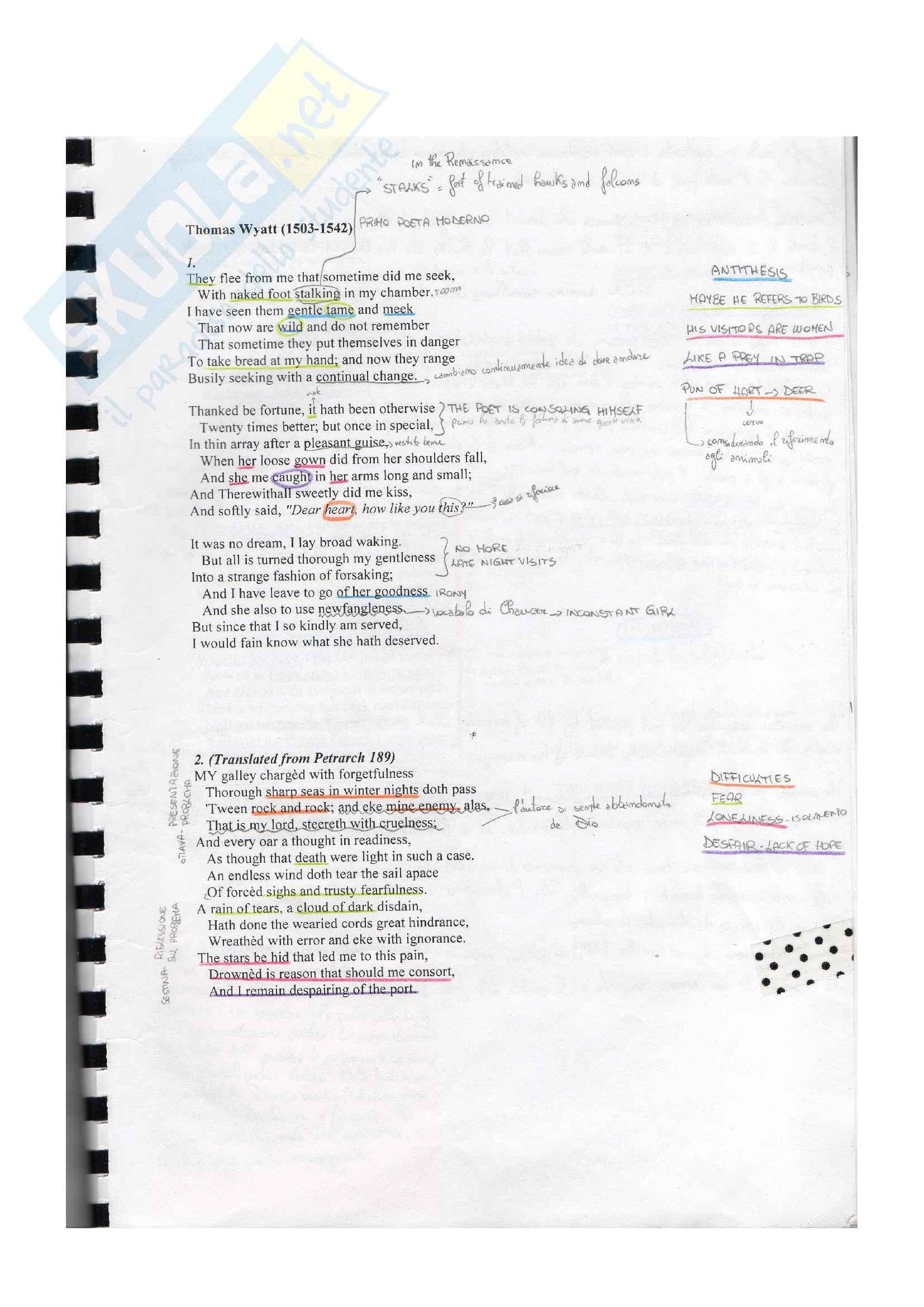 Riassunto esame Letteratura Inglese 1