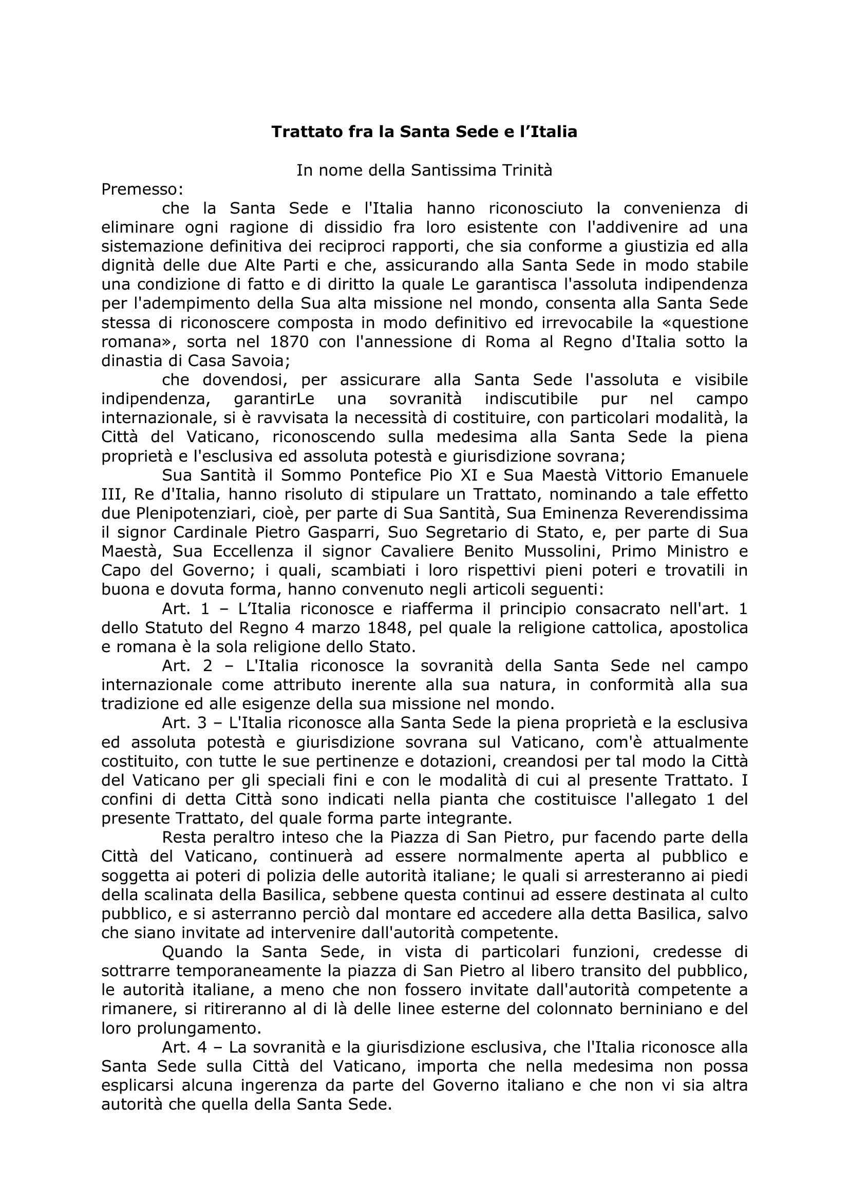Trattato Lateranense