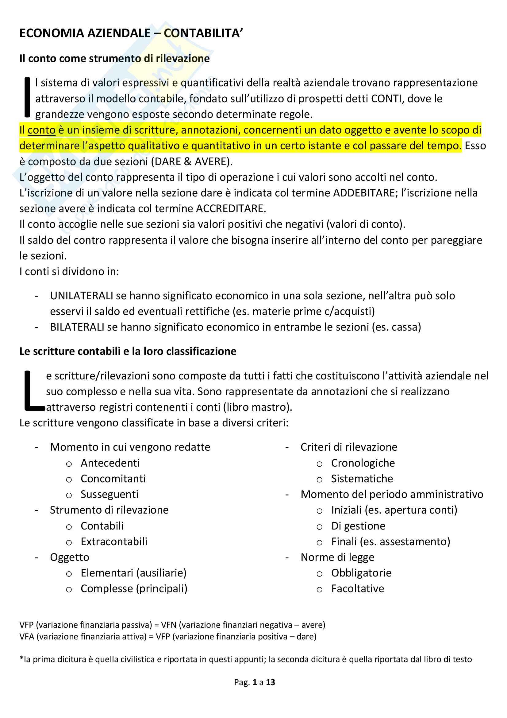 Appunti economia aziendale Contabilità (PD)