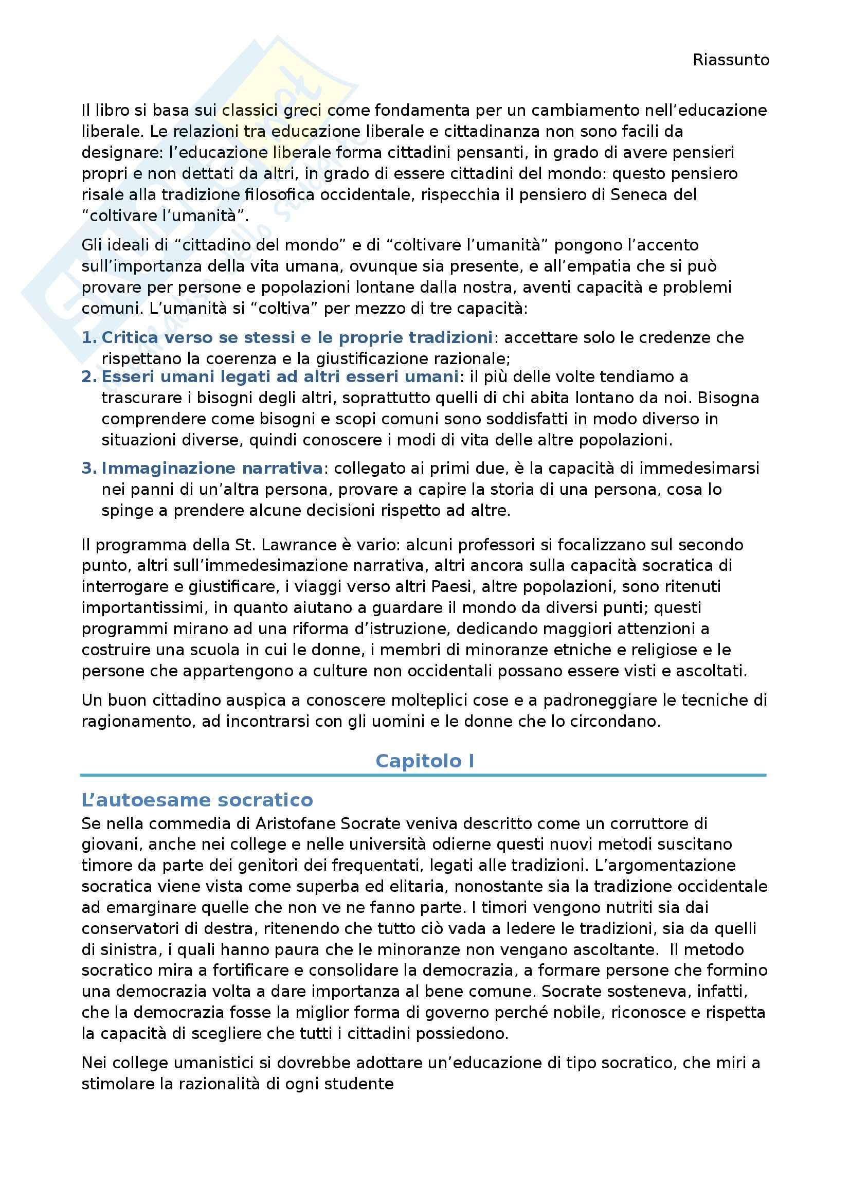 Riassunto esame Etica della comunicazione prof. Delogu, libro consigliato Coltivare l'umanità, Nussbaum Pag. 2