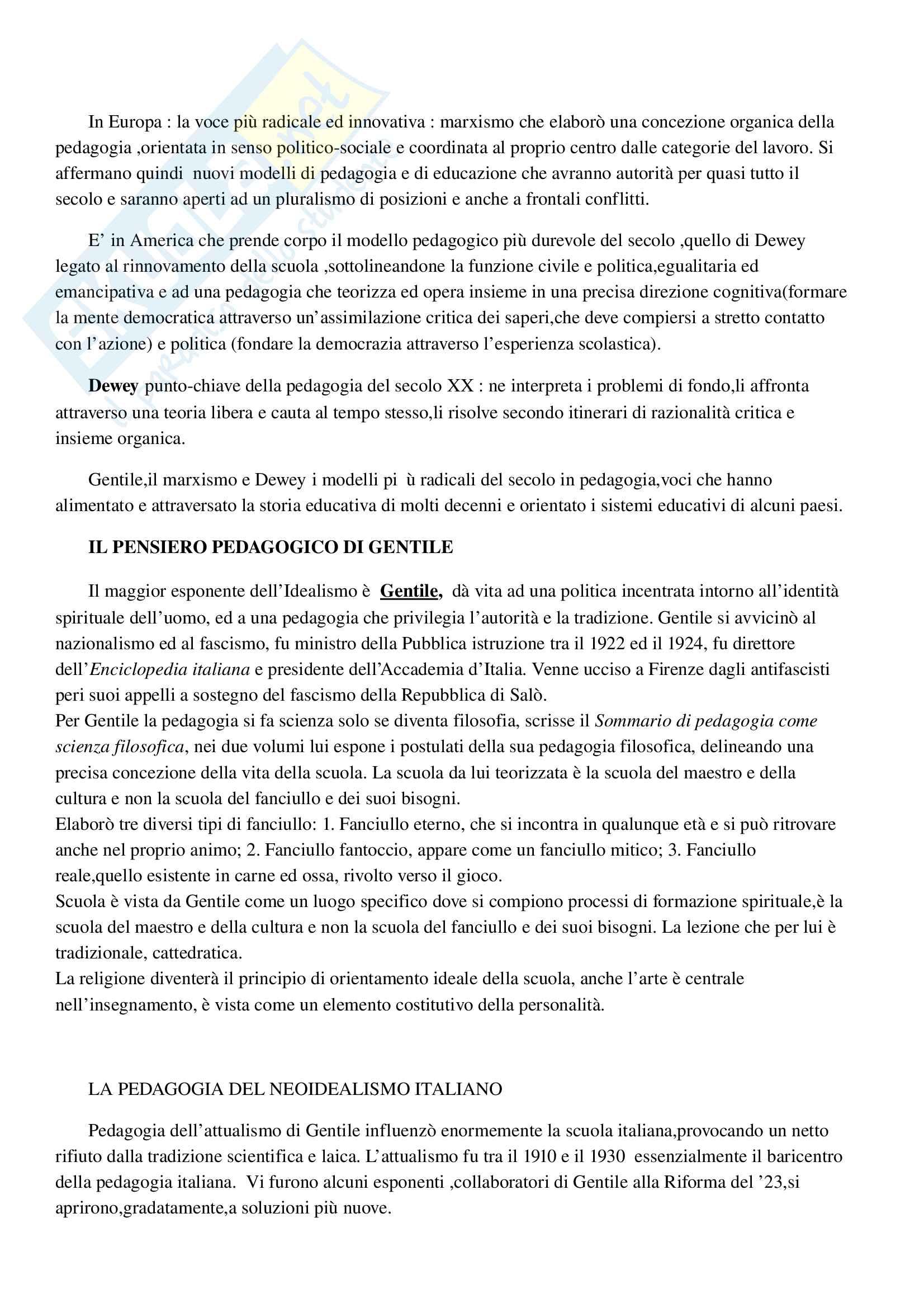 Riassunto esame pedagogia generale, prof. ssa Kanizsa, libro consigliato Le pedagogie del Novecento, Franco Cambi Pag. 11