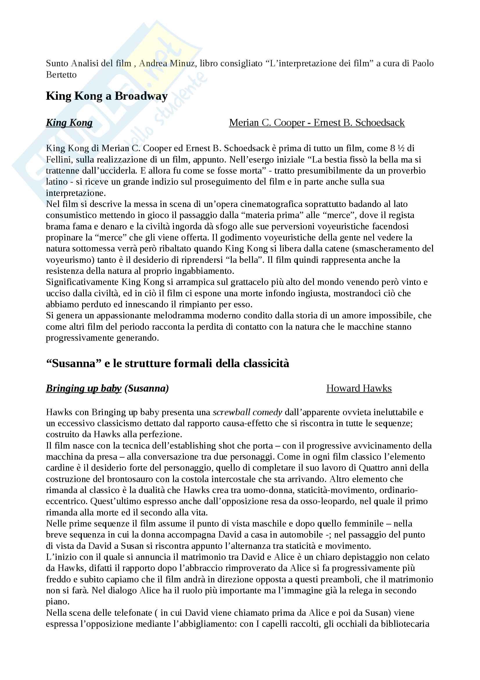 Riassunto esame Analisi del film, prof. Andrea Minuz, libro consigliato L'interpretazione dei film a cura di Paolo Bertetto